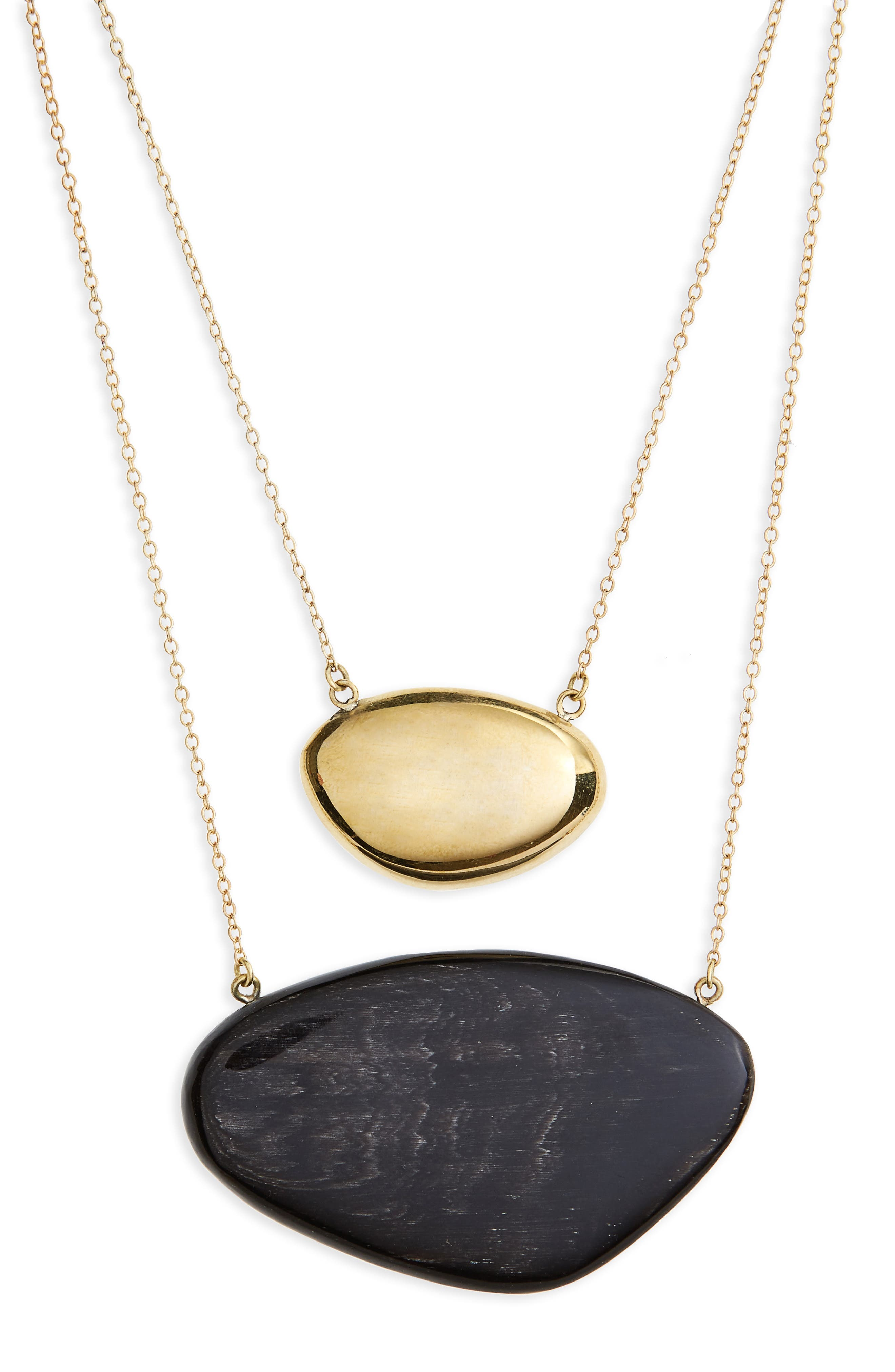 Sabi Layered Necklace,                         Main,                         color, Brass And Black