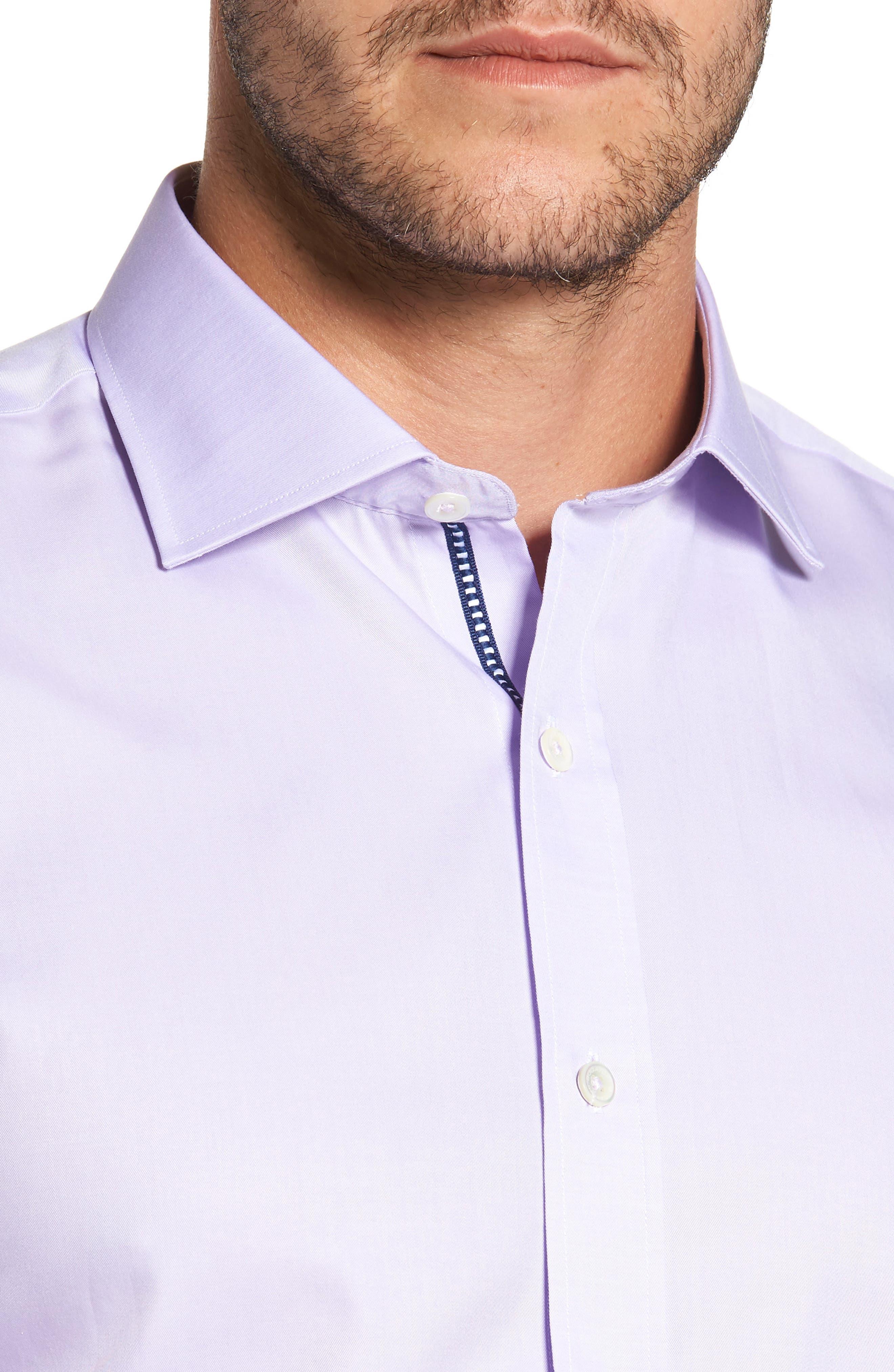 Trim Fit Solid Pastel Sport Shirt,                             Alternate thumbnail 4, color,                             Lavender