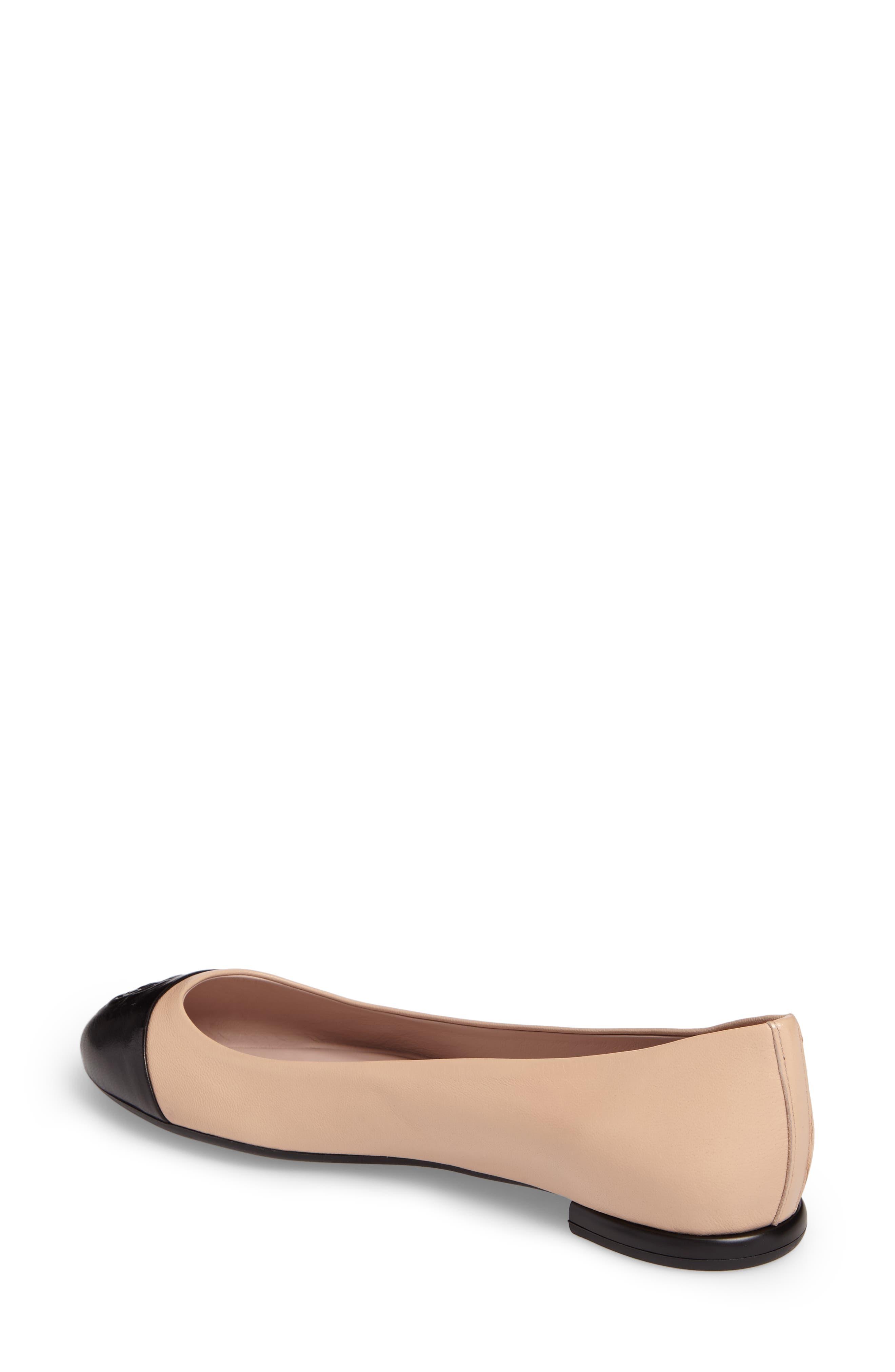 Rosa Ballet Flat,                             Alternate thumbnail 2, color,                             Beige/ Black Leather