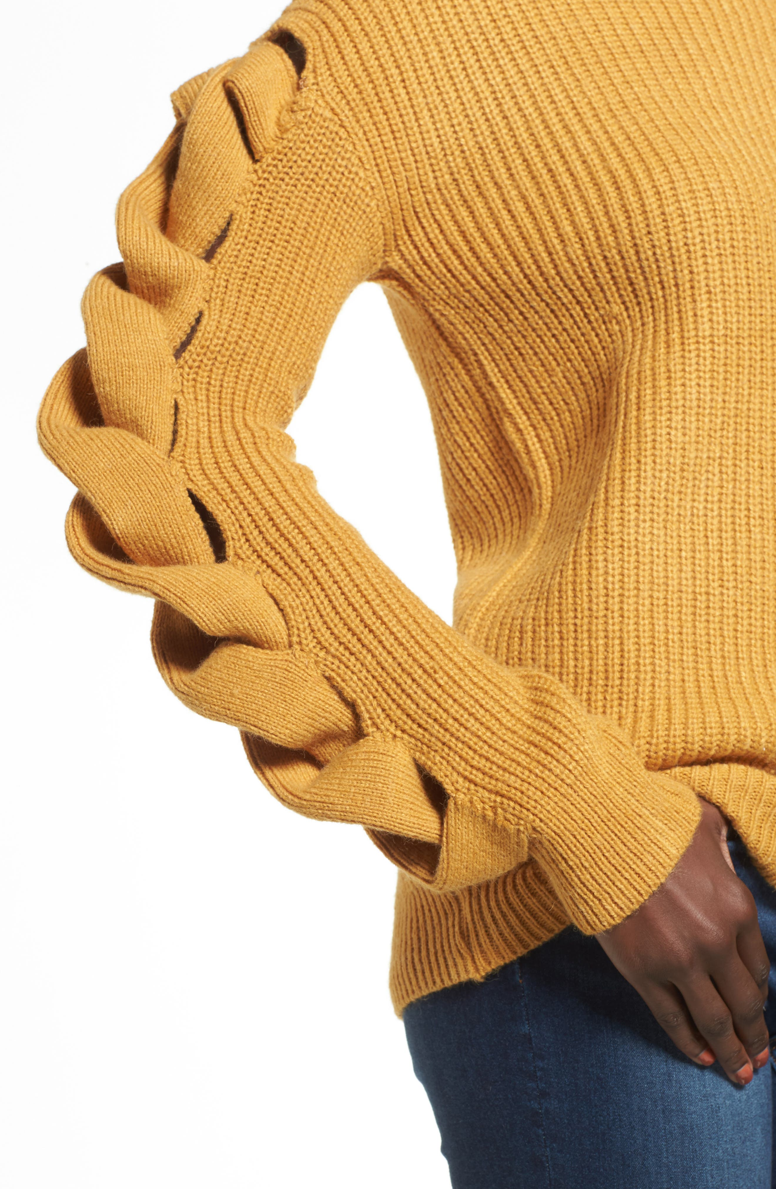 Twist Sleeve Sweater,                             Alternate thumbnail 4, color,                             Yellow Spruce