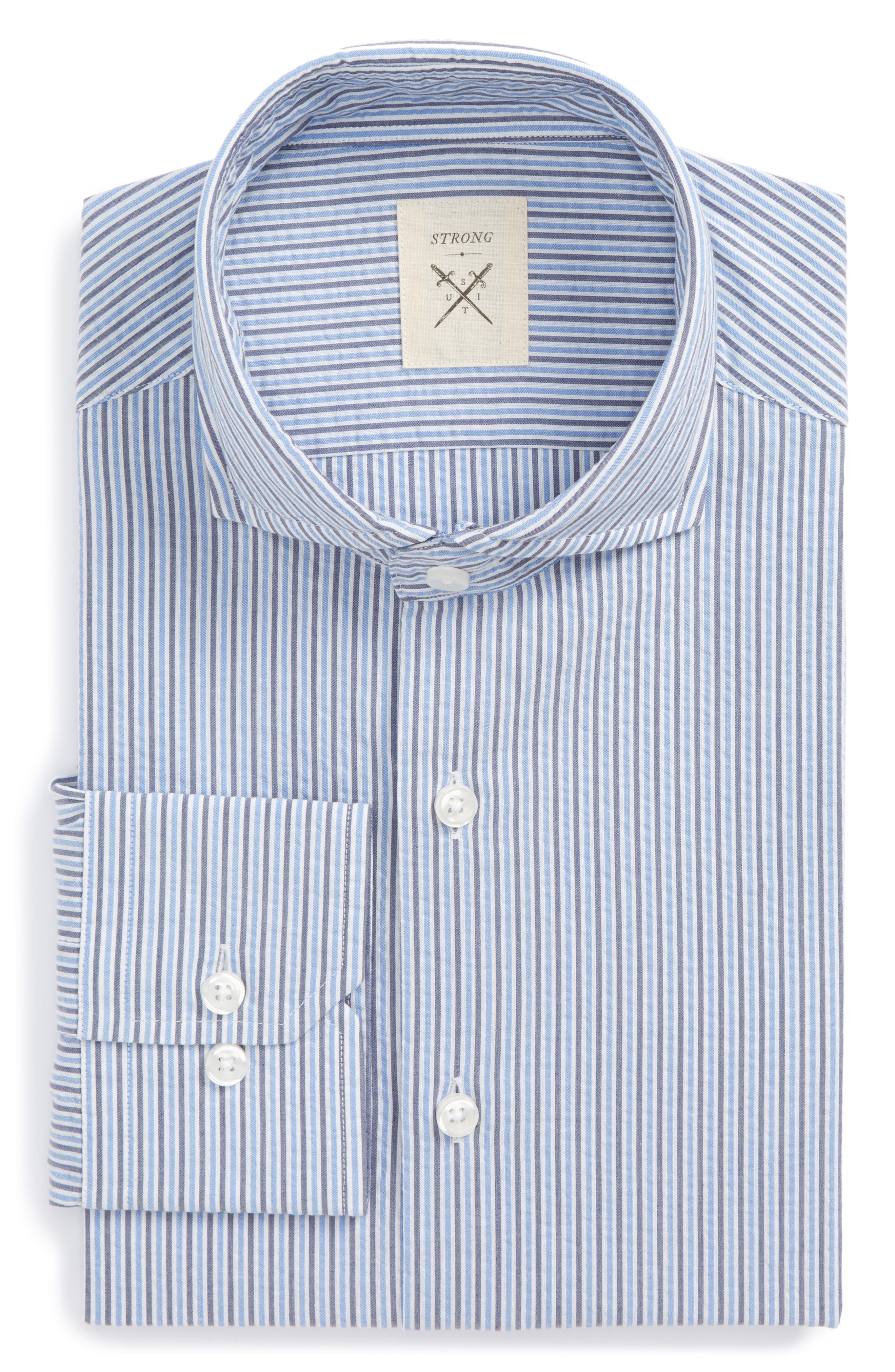 Extra Trim Fit Stripe Dress Shirt,                         Main,                         color, Blue/ Grey