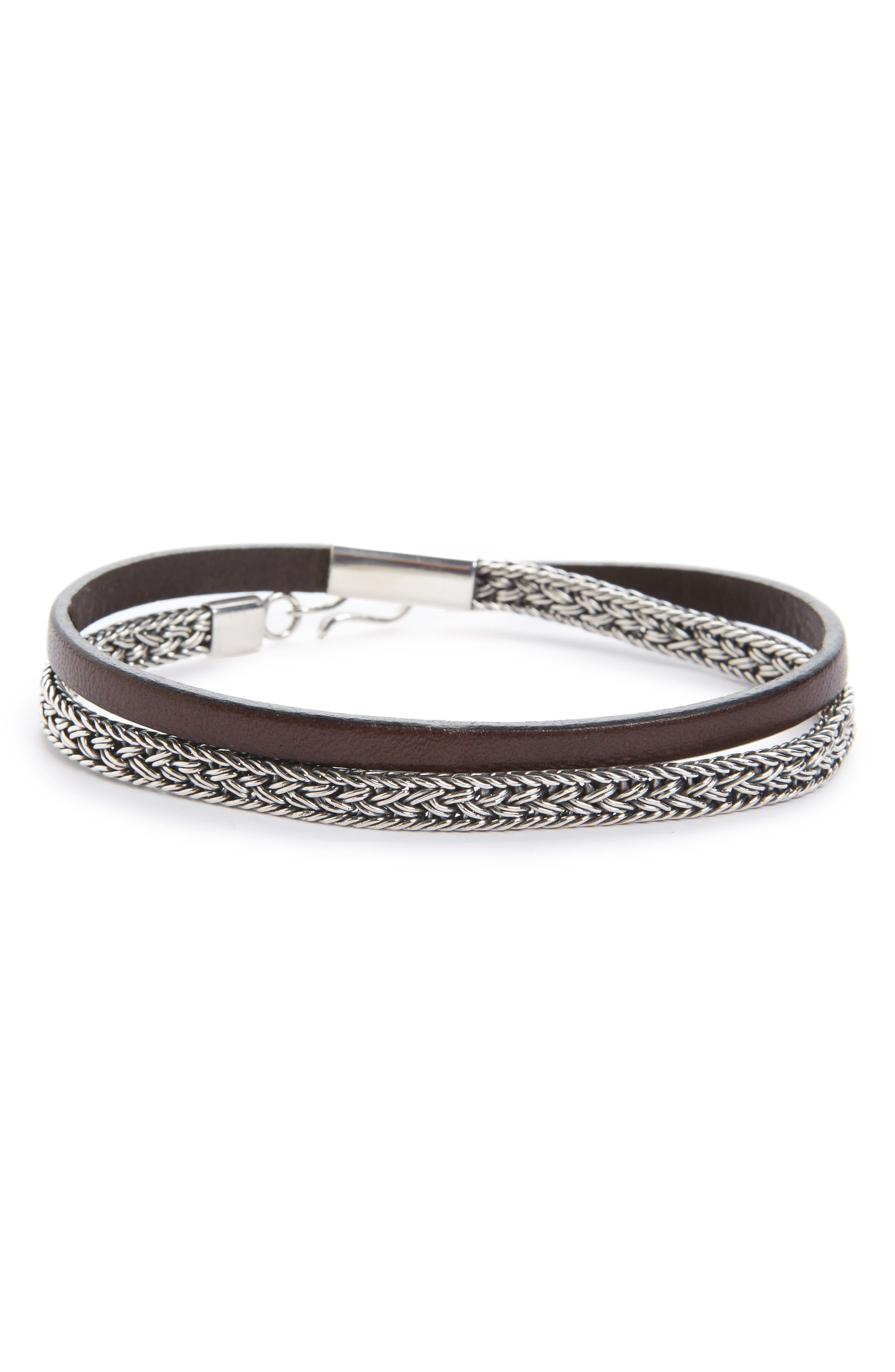 Caputo & Co. Sterling Silver & Leather Wrap Bracelet