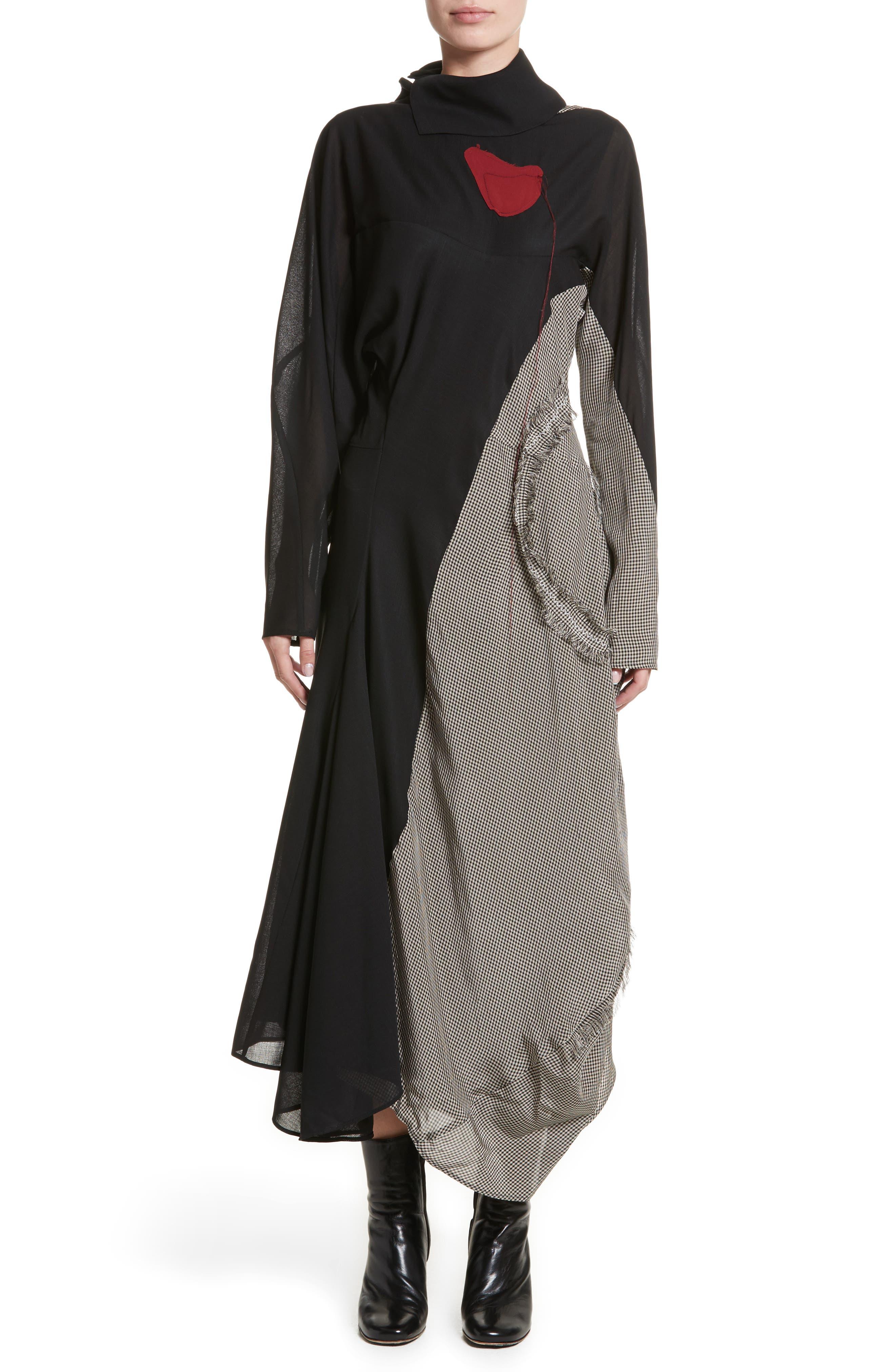 Dragica Mixed Media Dress,                             Main thumbnail 1, color,                             Black
