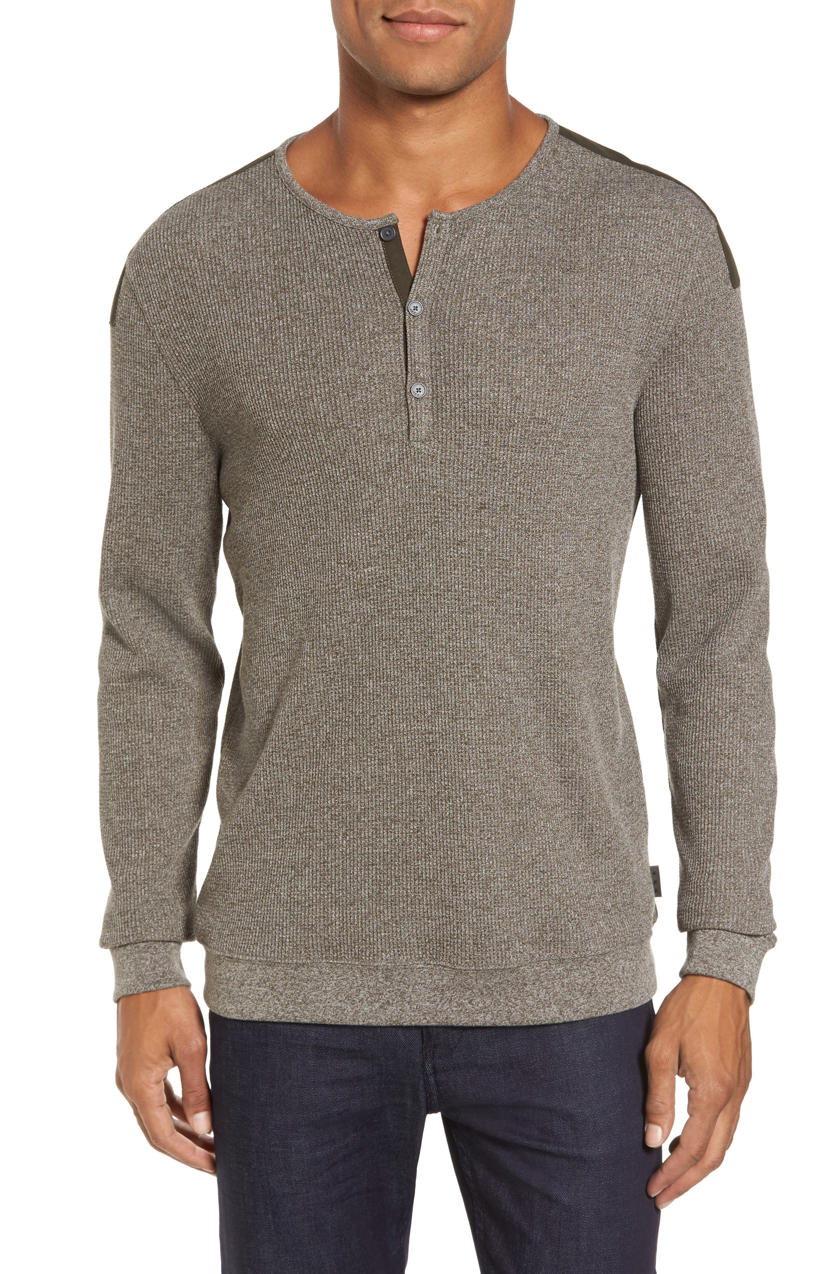 Main Image - John Varvatos Star USA Woven Trim Henley