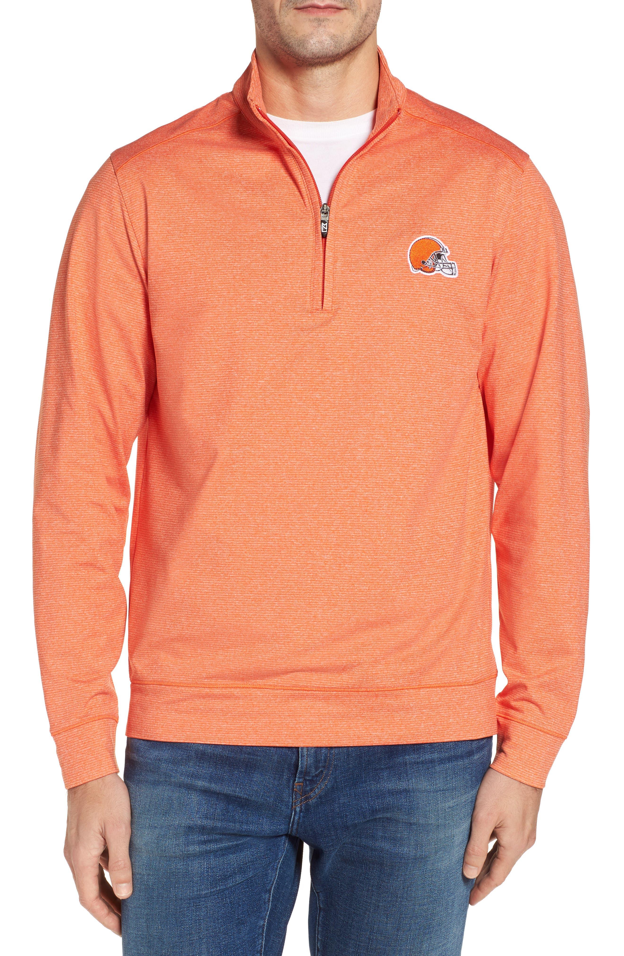 Shoreline - Cleveland Browns Half Zip Pullover,                         Main,                         color, College Orange Heather