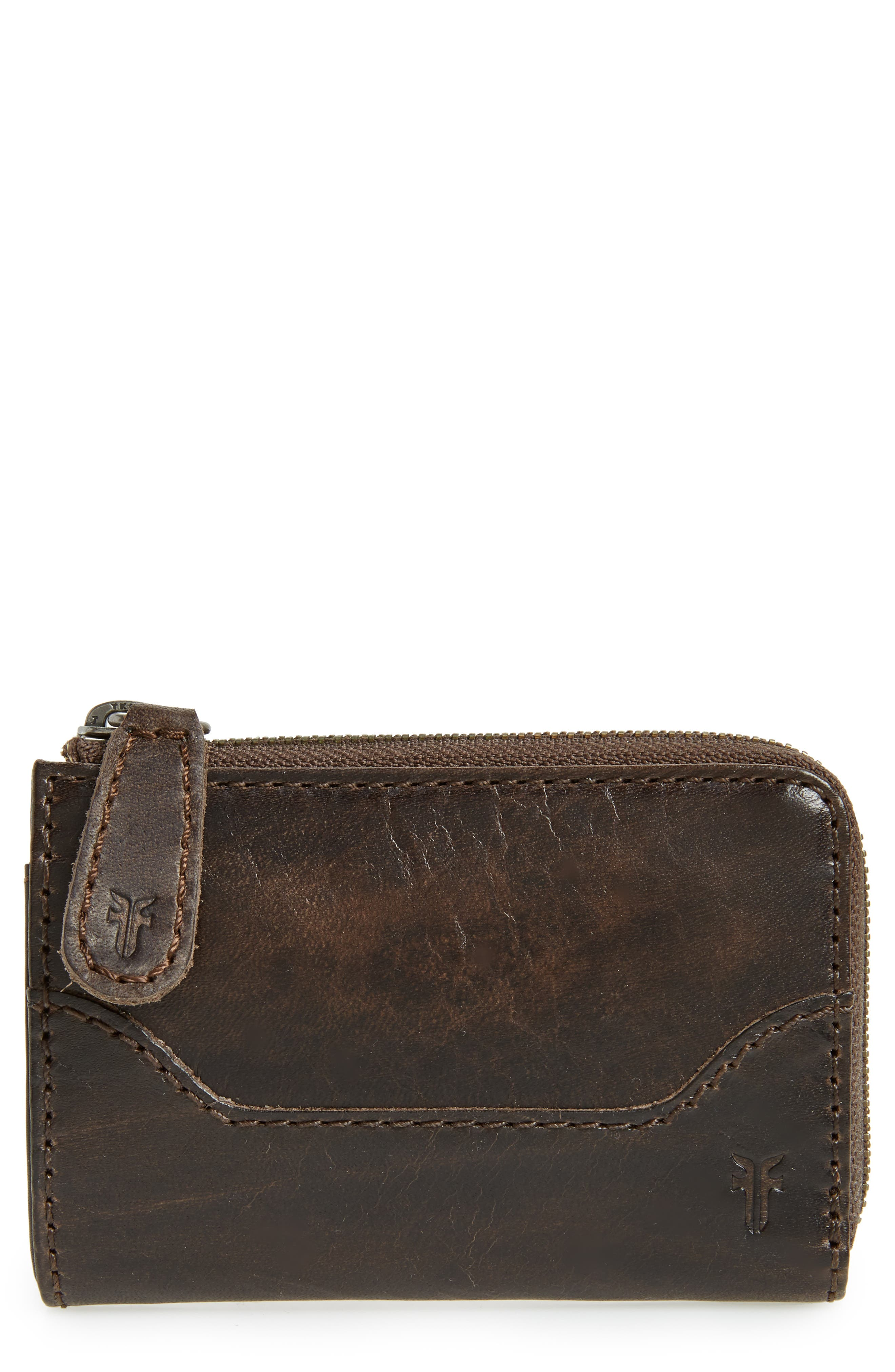 Small Melissa Leather Zip Wallet,                         Main,                         color, Slate