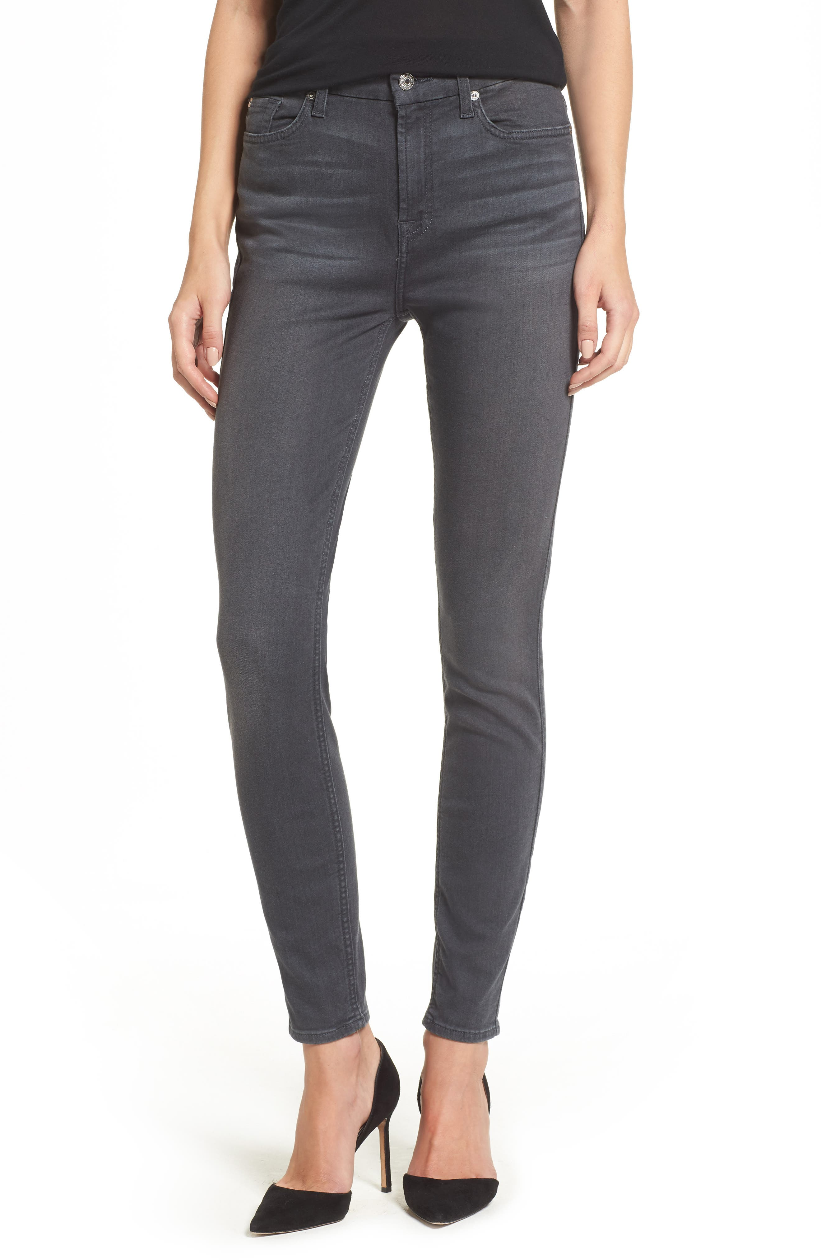 Main Image - 7 For All Mankind® b(air) High Waist Skinny Jeans (Smoke)