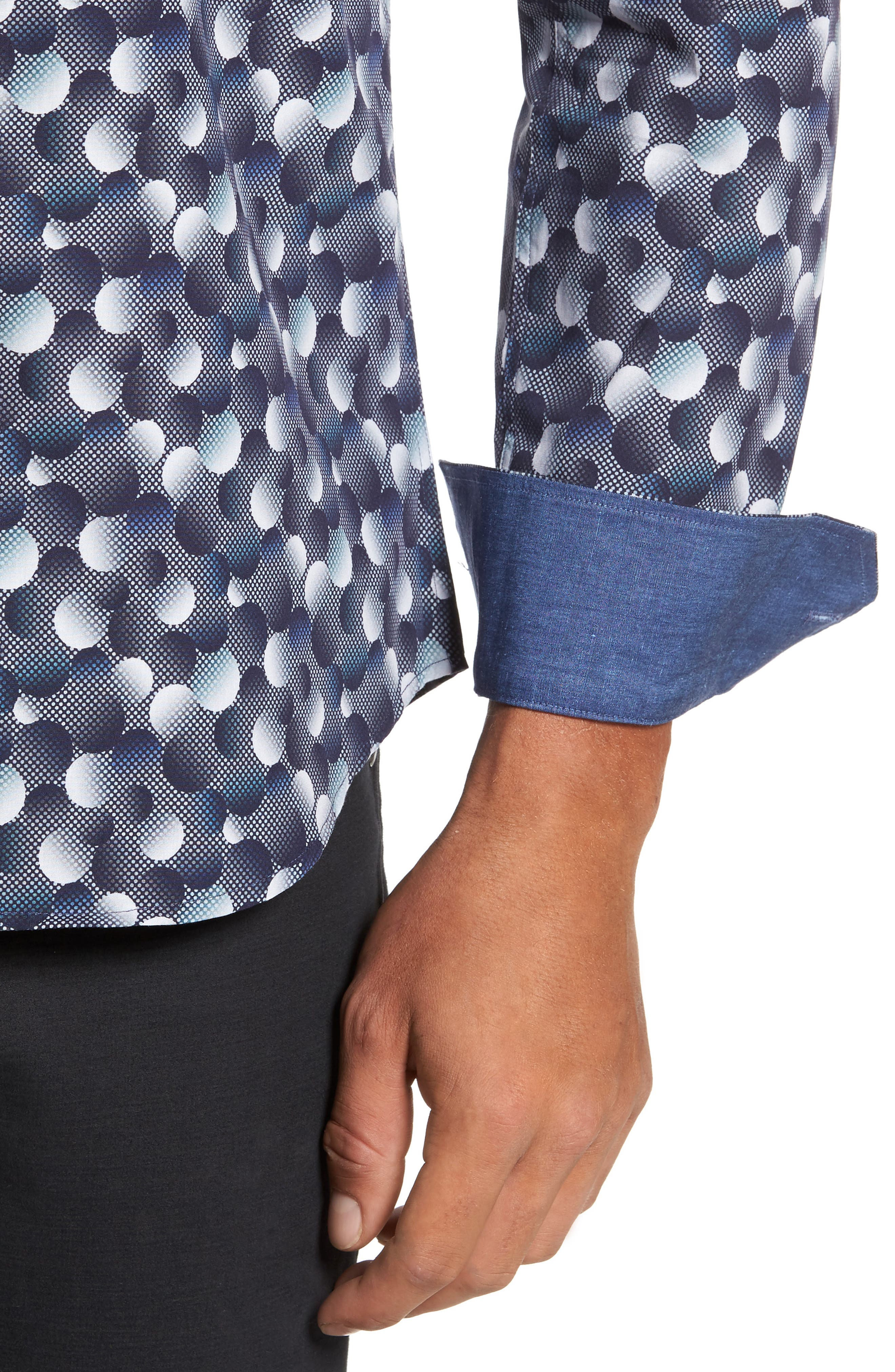 Trim Fit Circle Print Sport Shirt,                             Alternate thumbnail 4, color,                             Graphite