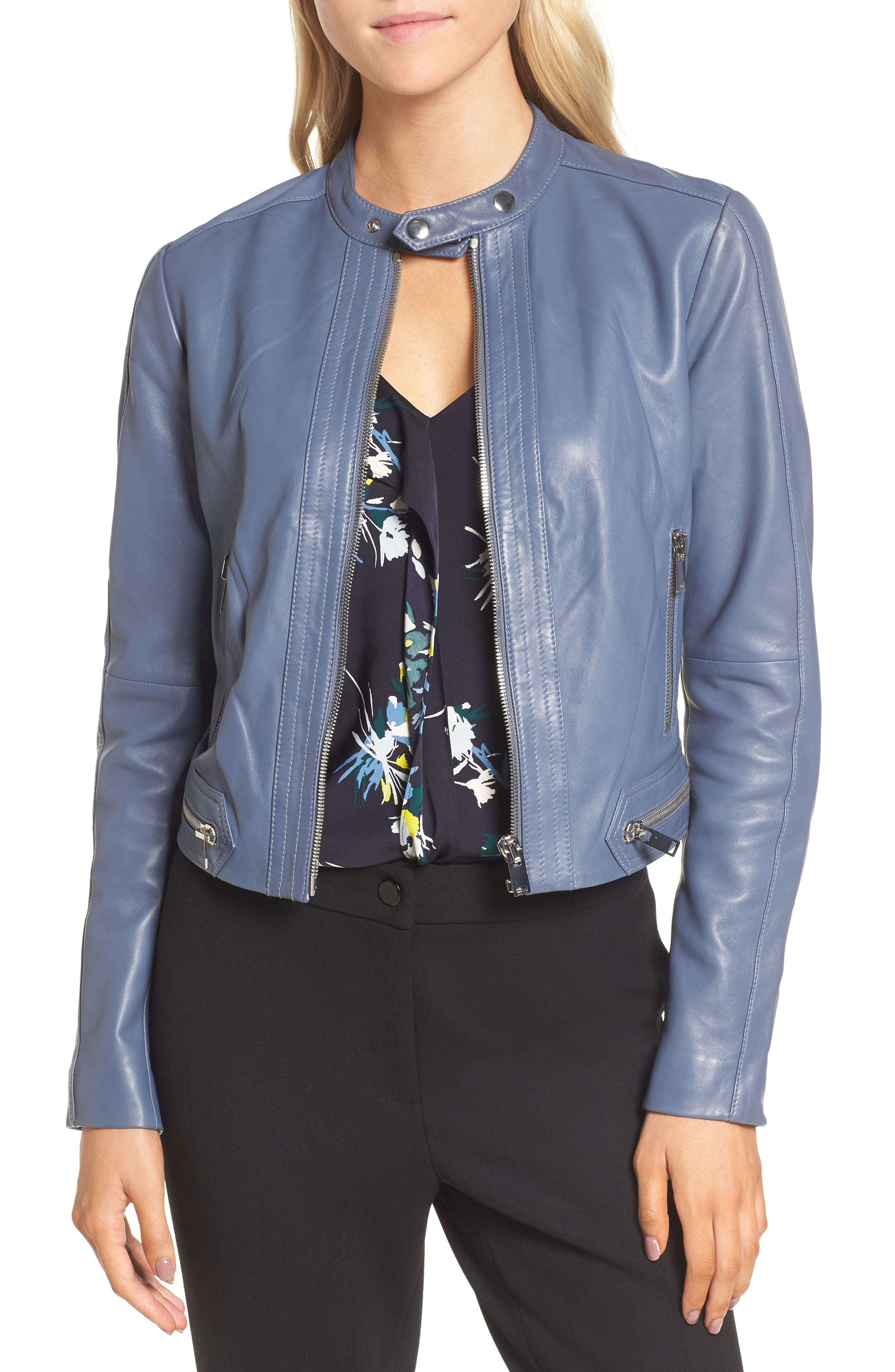 Leather Jacket,                             Main thumbnail 1, color,                             Grey Grisaille