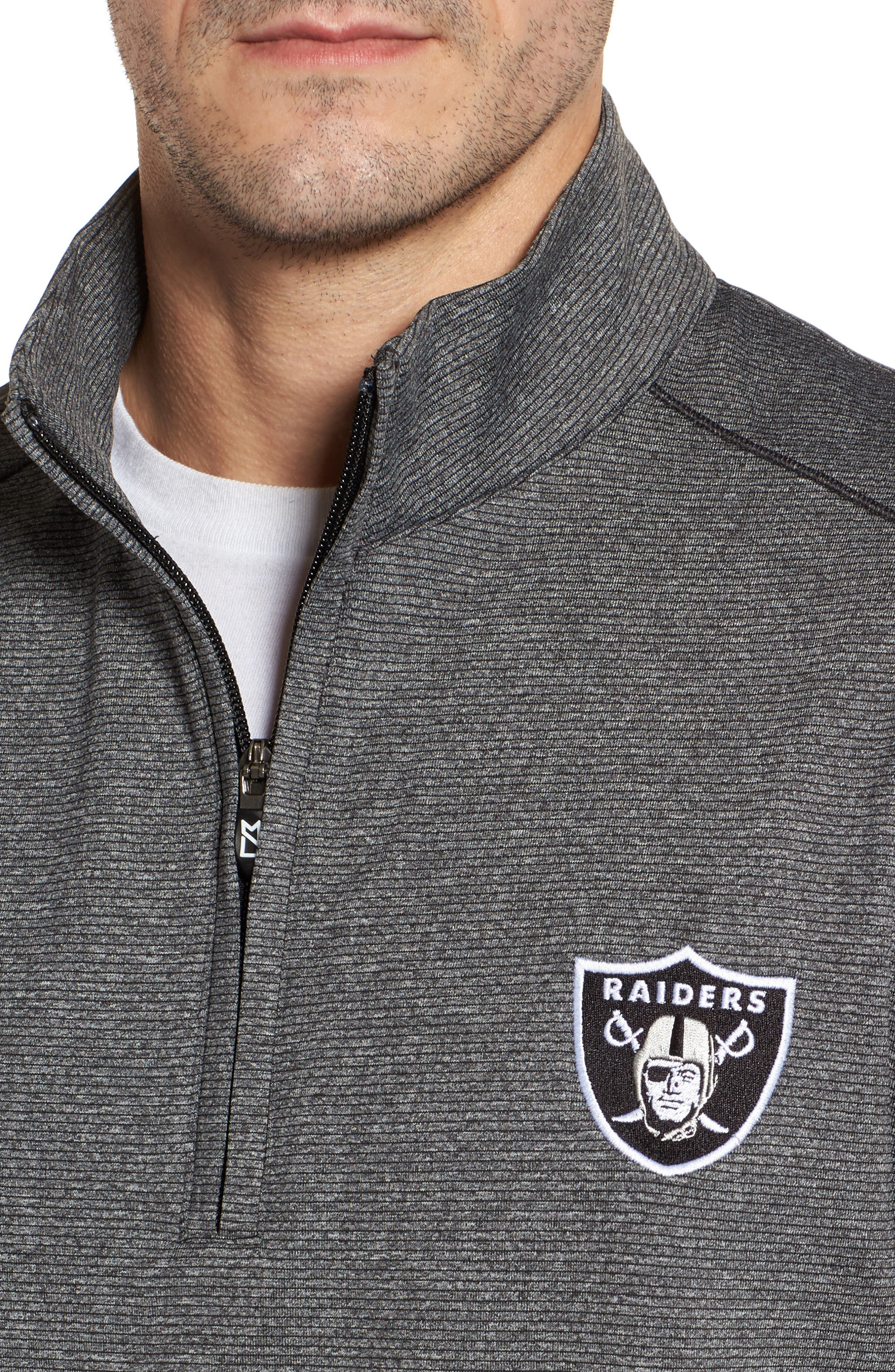 Shoreline - Oakland Raiders Half Zip Pullover,                             Alternate thumbnail 4, color,                             Charcoal Heather