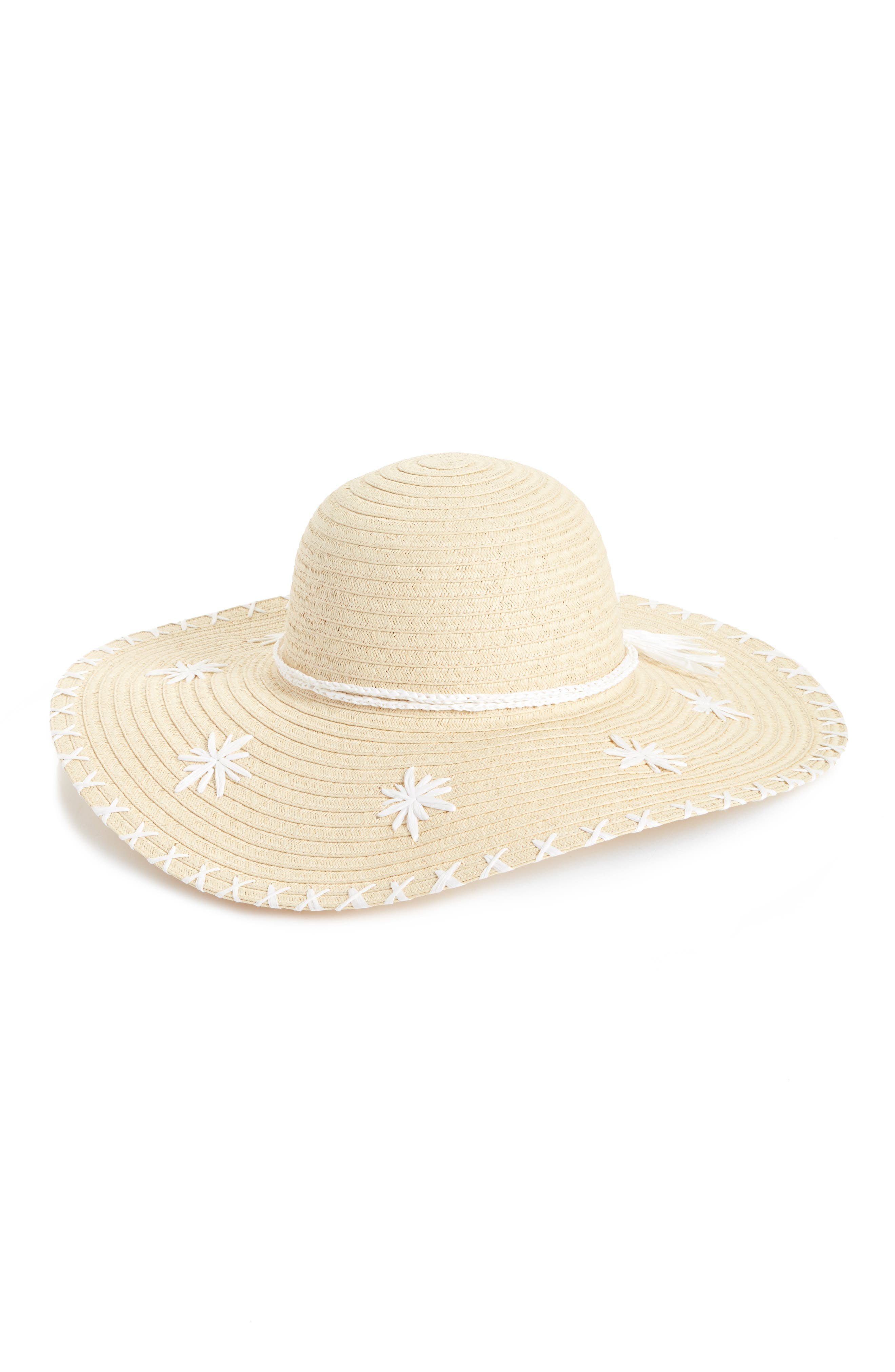Embroidered Floppy Hat,                         Main,                         color, Natural Combo