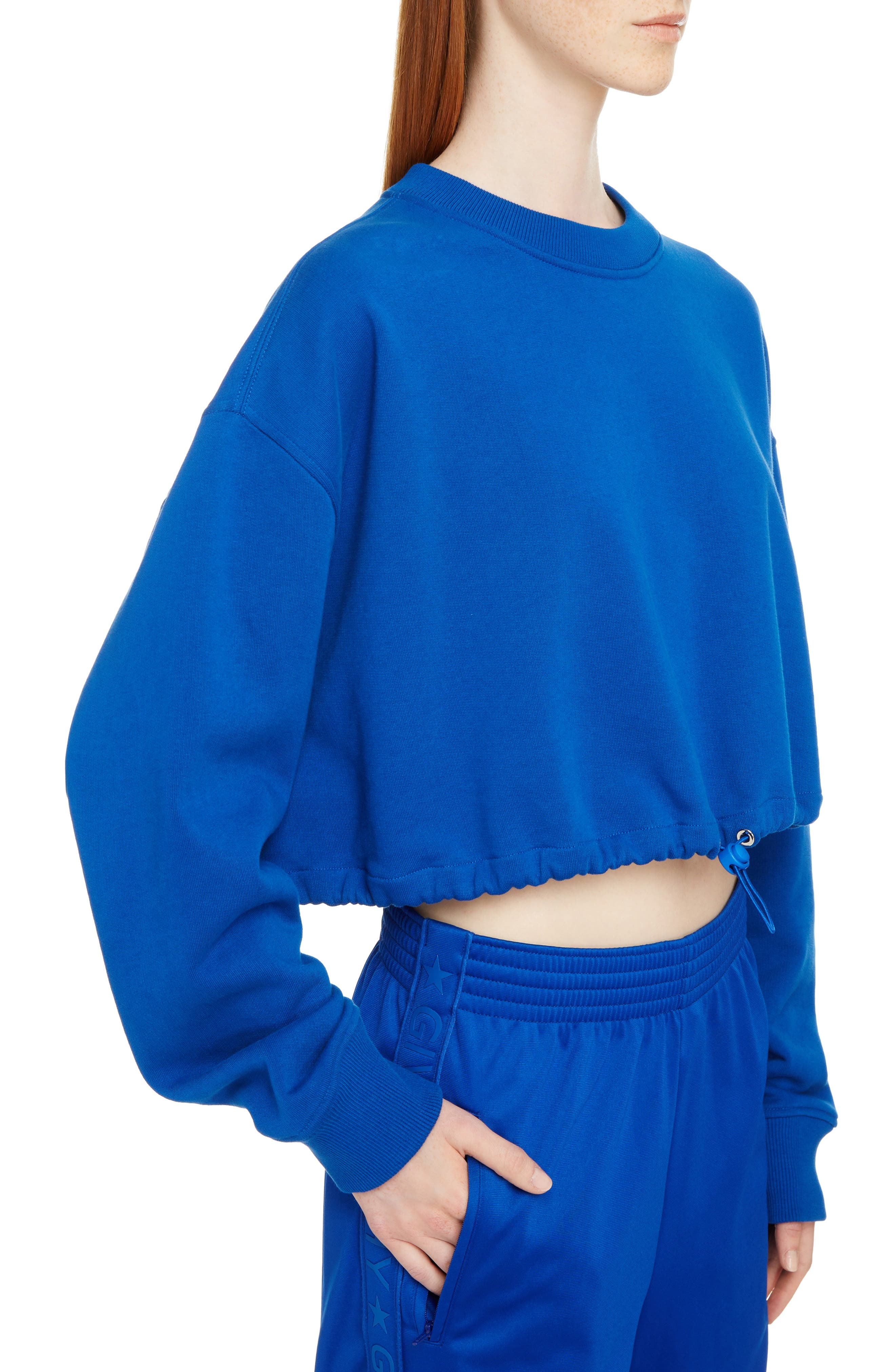 Crop Sweatshirt,                             Alternate thumbnail 4, color,                             Electric Blue