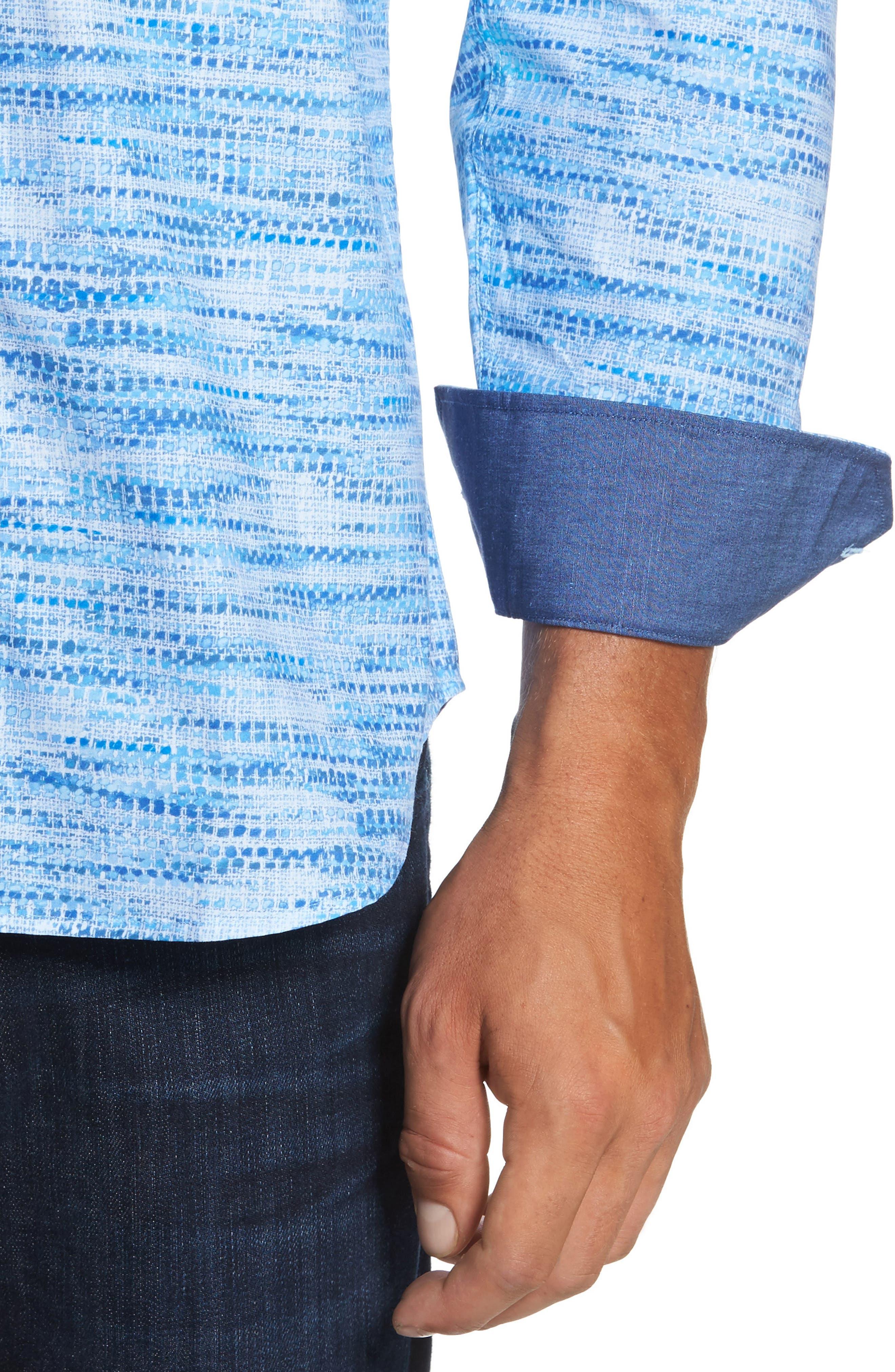 Classic Fit Weave Print Sport Shirt,                             Alternate thumbnail 4, color,                             Classic Blue