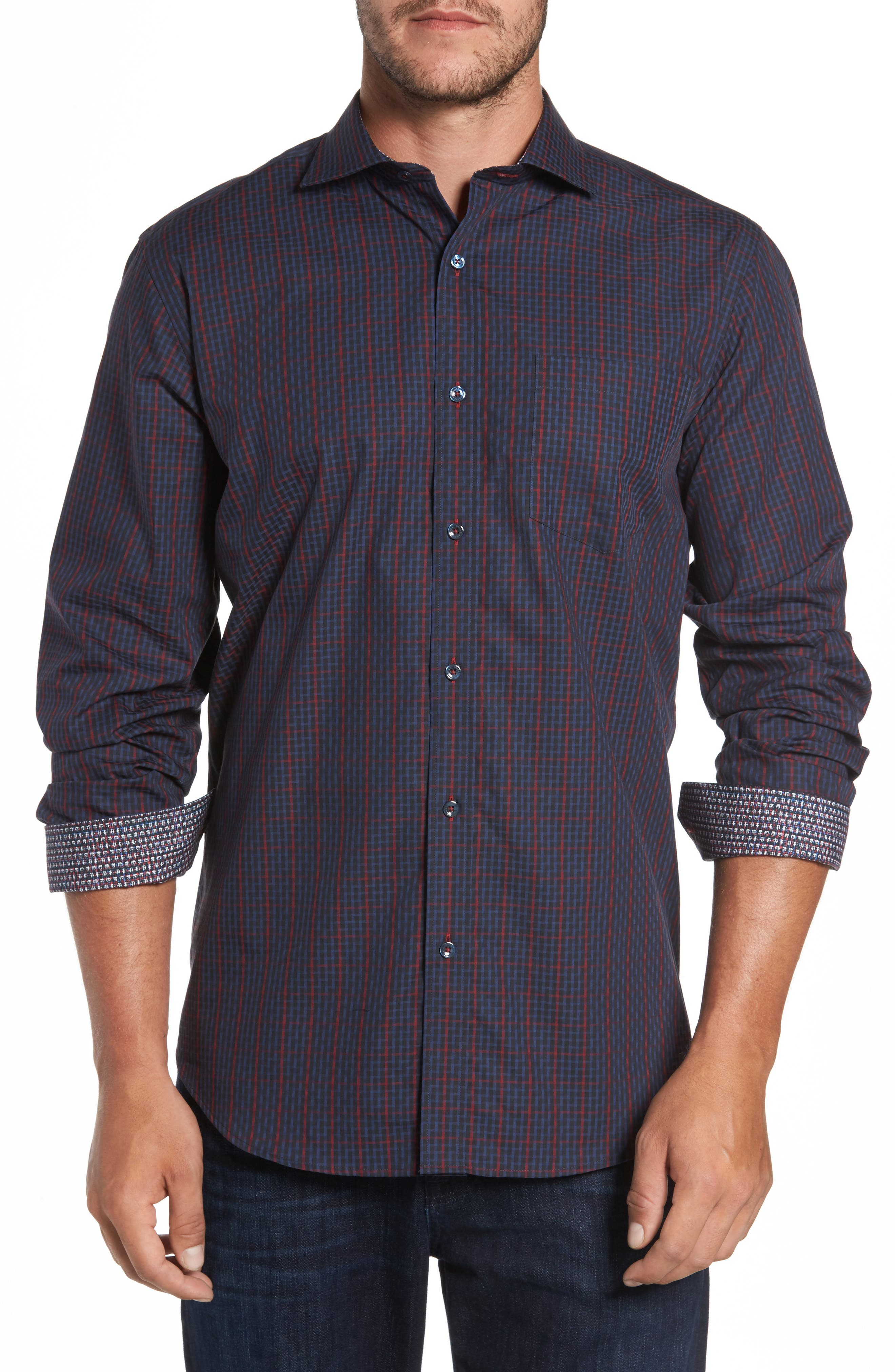 Classic Fit Windowpane Check Sport Shirt,                         Main,                         color, Midnight