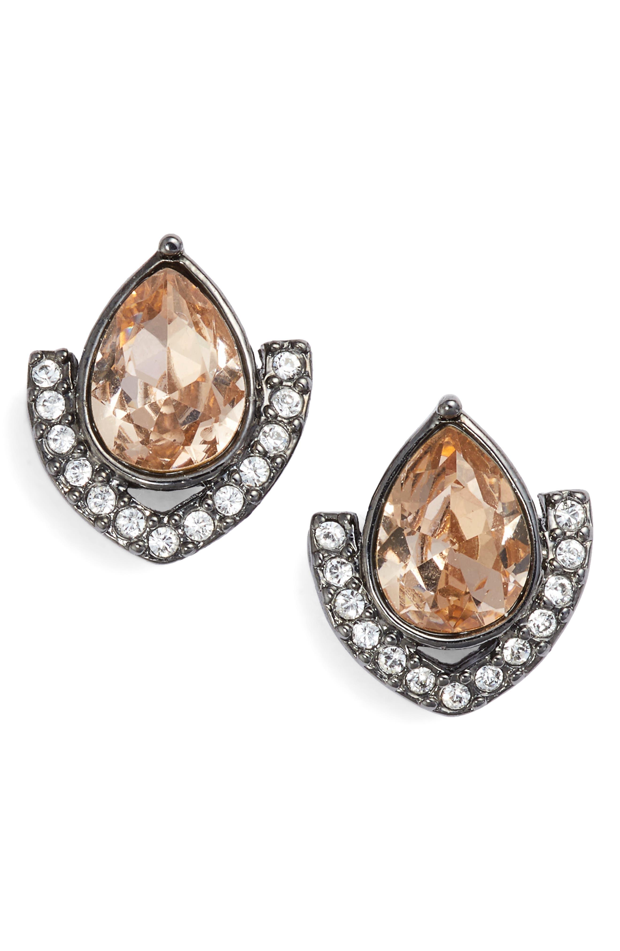 Crystal Stud Earrings,                             Main thumbnail 1, color,                             Blush/ Crystal