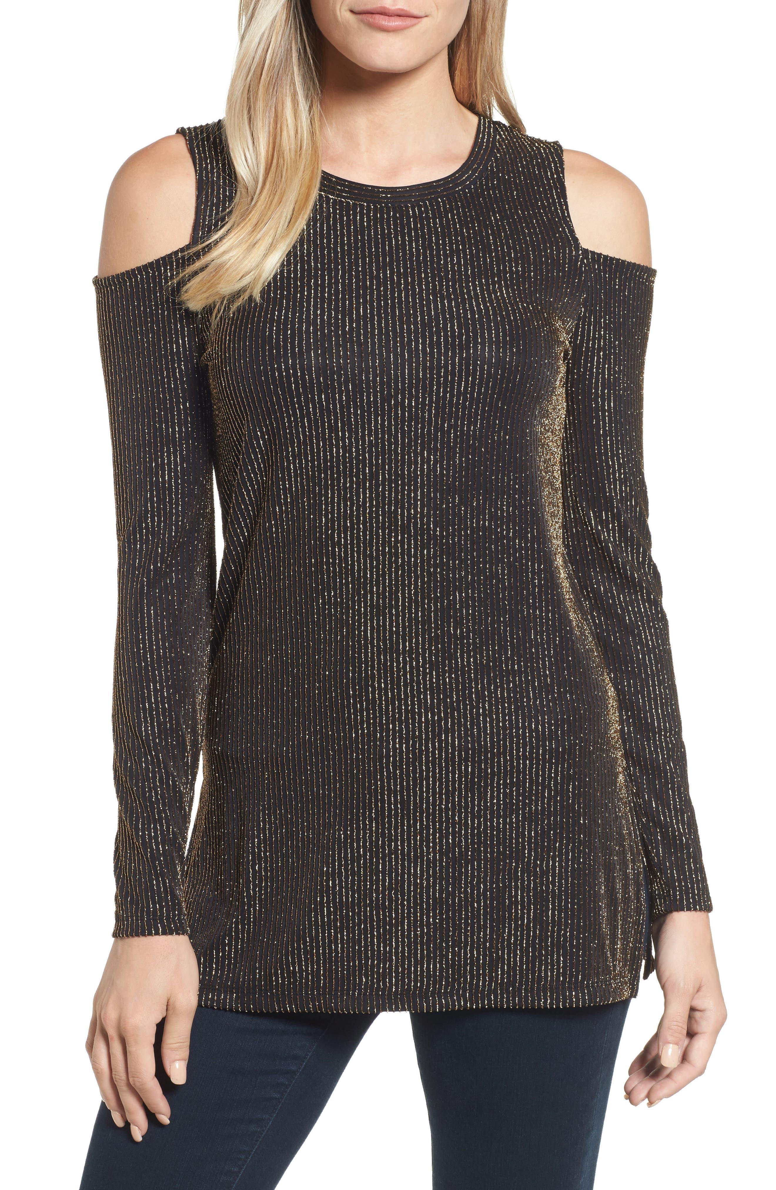 Sparkle Cold Shoulder Top,                         Main,                         color, Black/ Gold