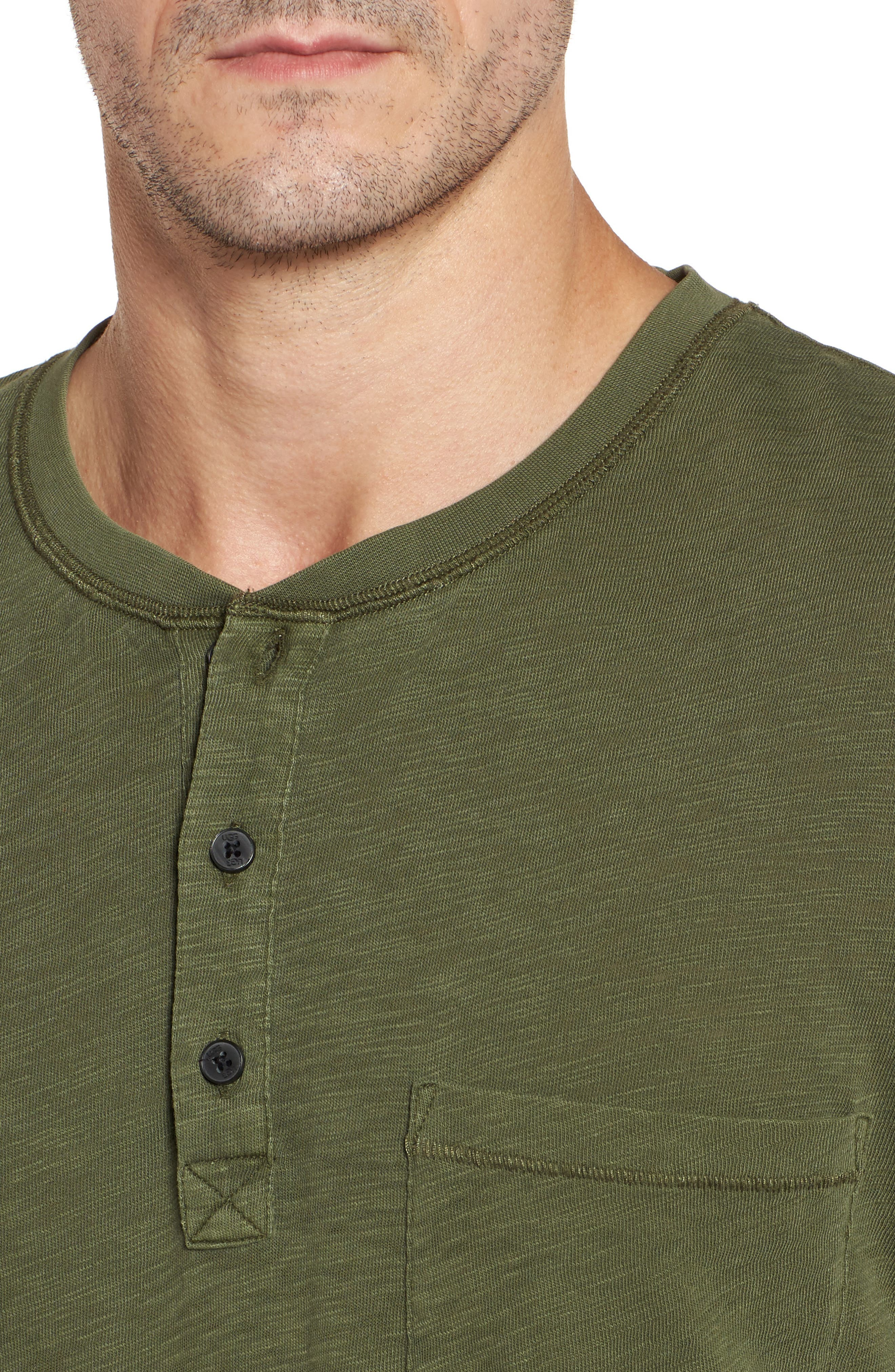 Long Sleeve Henley T-Shirt,                             Alternate thumbnail 4, color,                             Olive