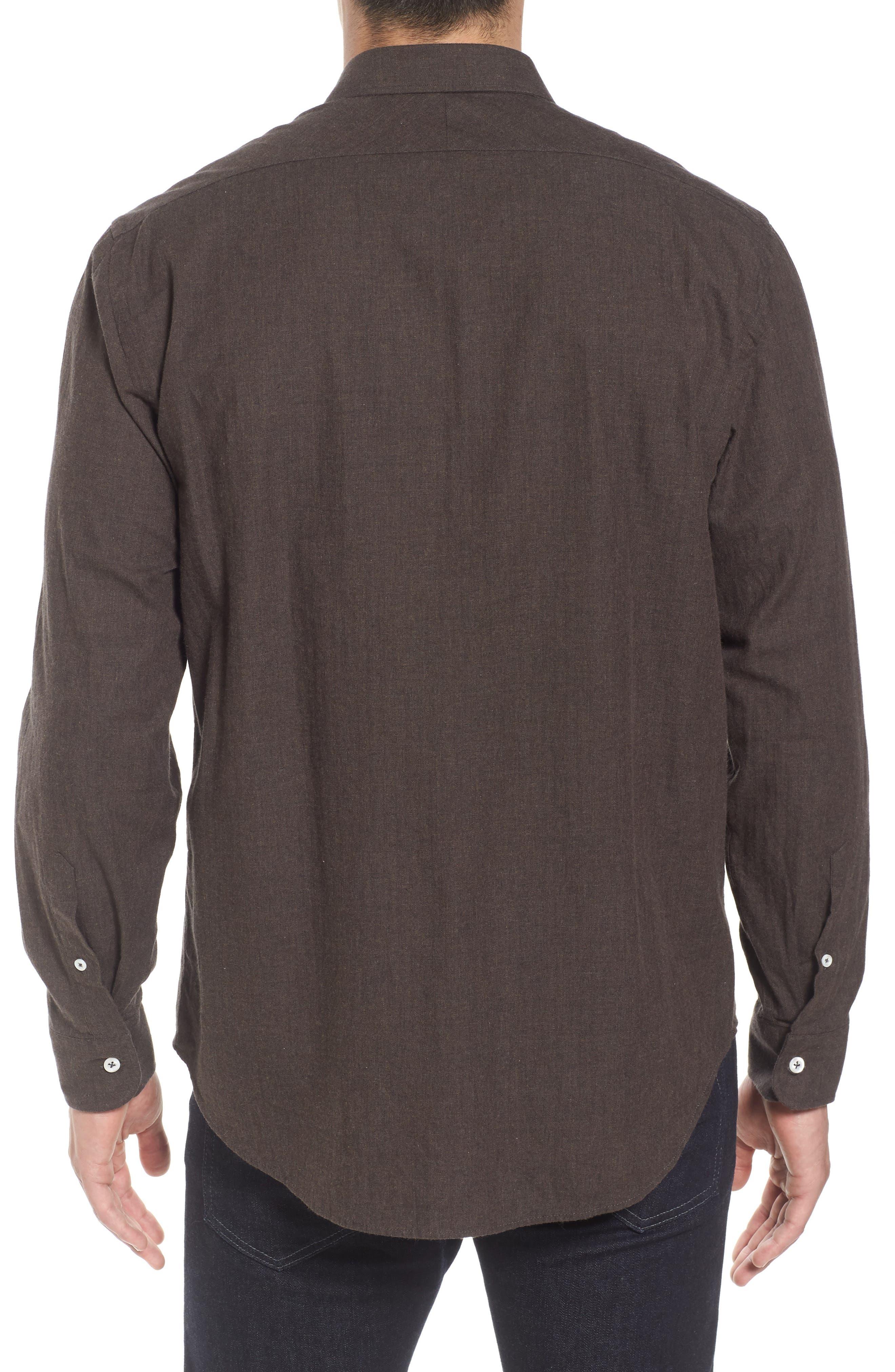John T Standard Fit Herringbone Shirt,                             Alternate thumbnail 2, color,                             Brown