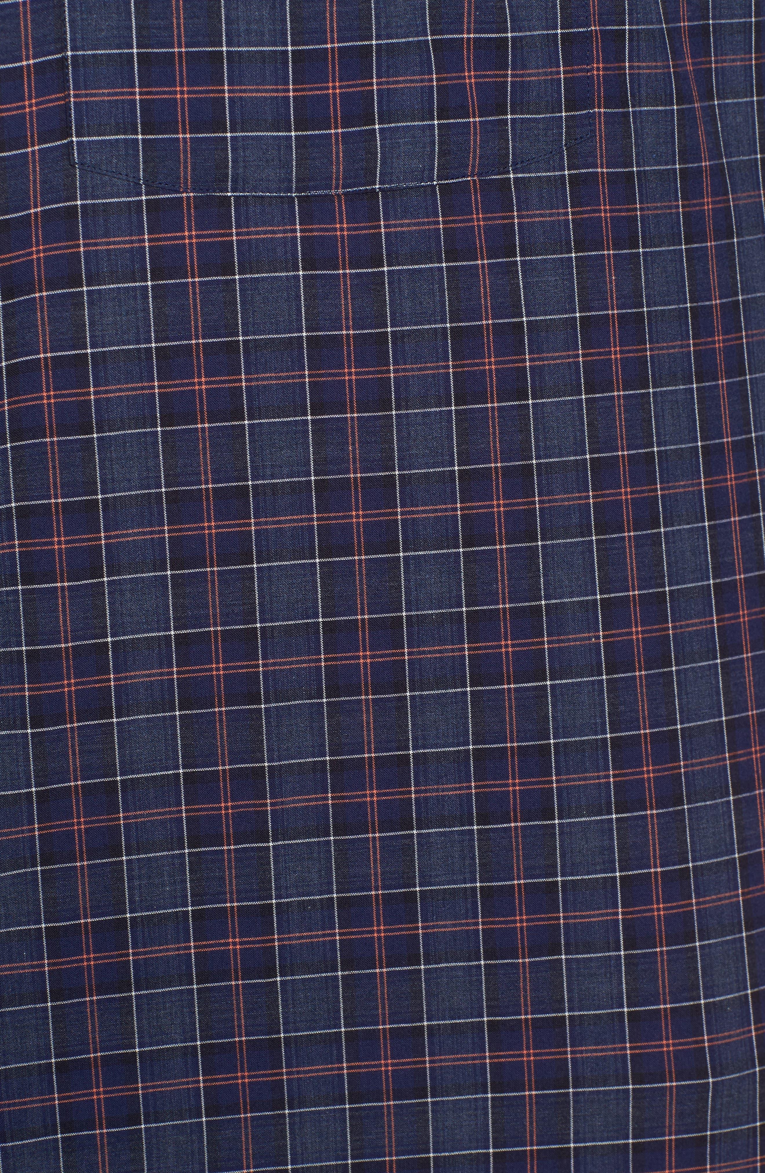 Slim Fit Plaid Sport Shirt,                             Alternate thumbnail 5, color,                             Navy