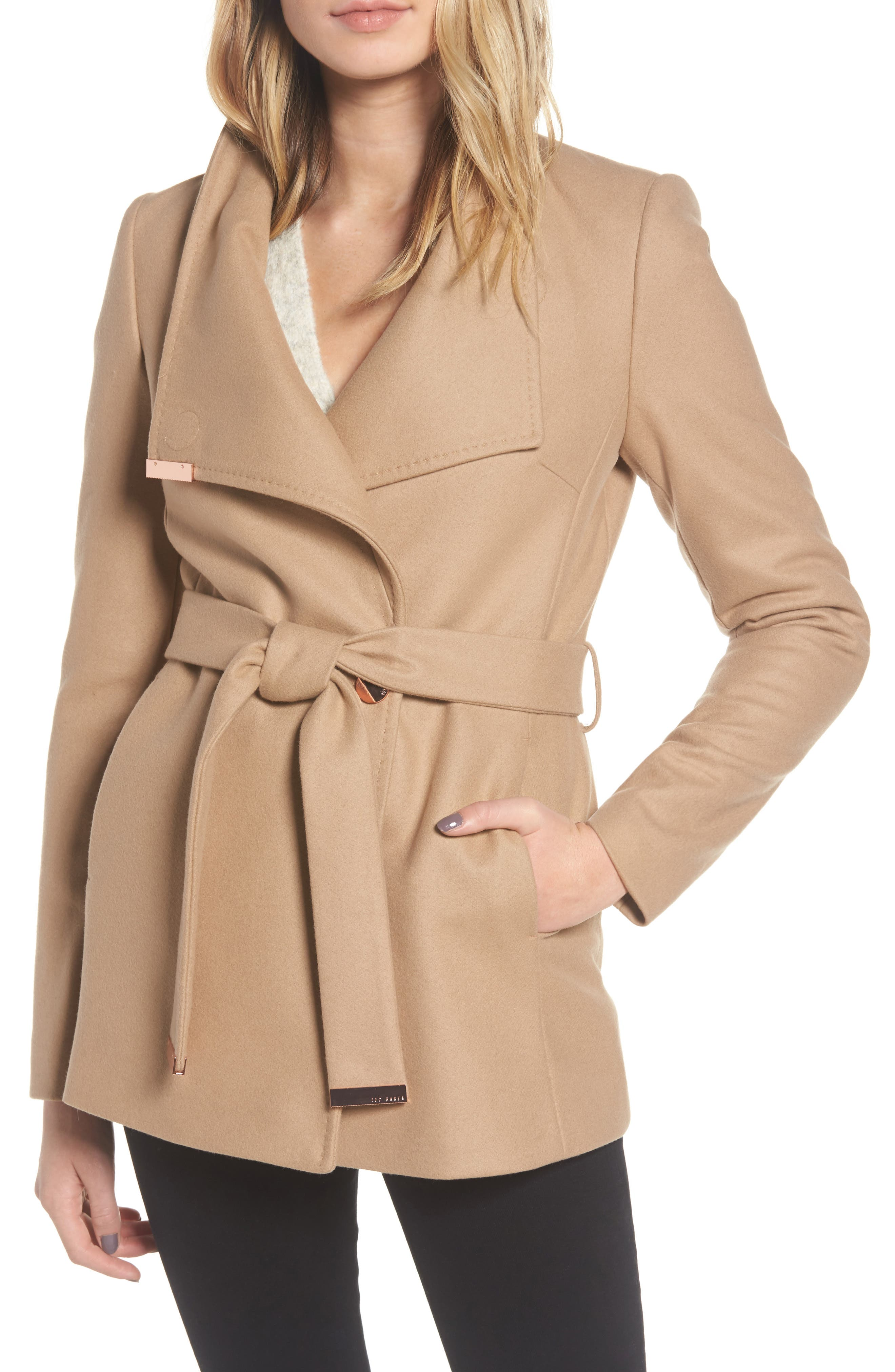 Ted Baker London Wool Blend Short Wrap Coat