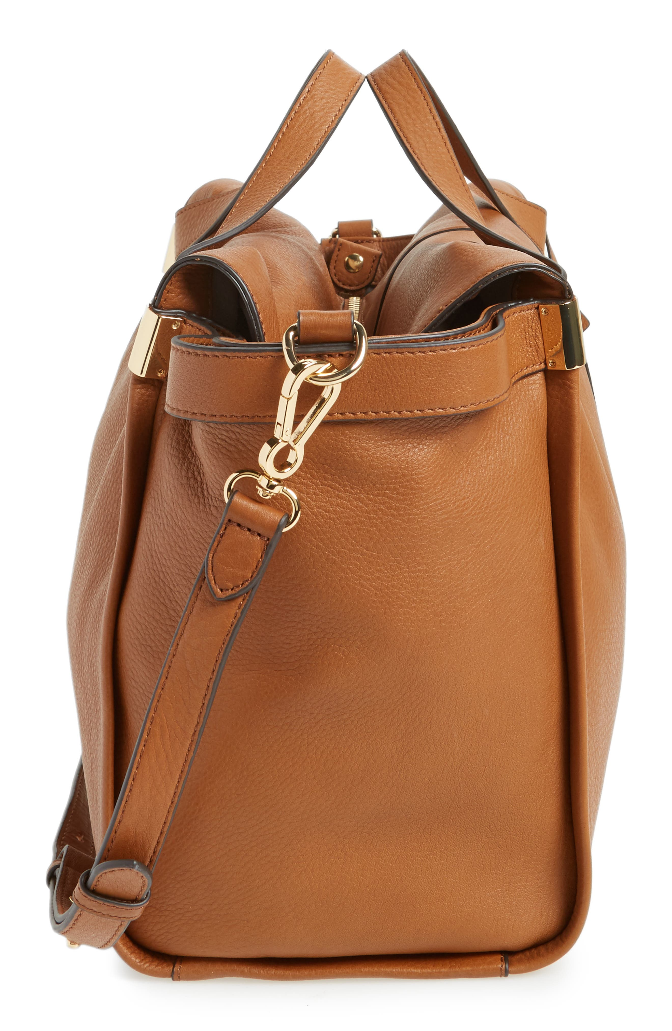 Rosen Leather Satchel,                             Alternate thumbnail 4, color,                             Dark Rum