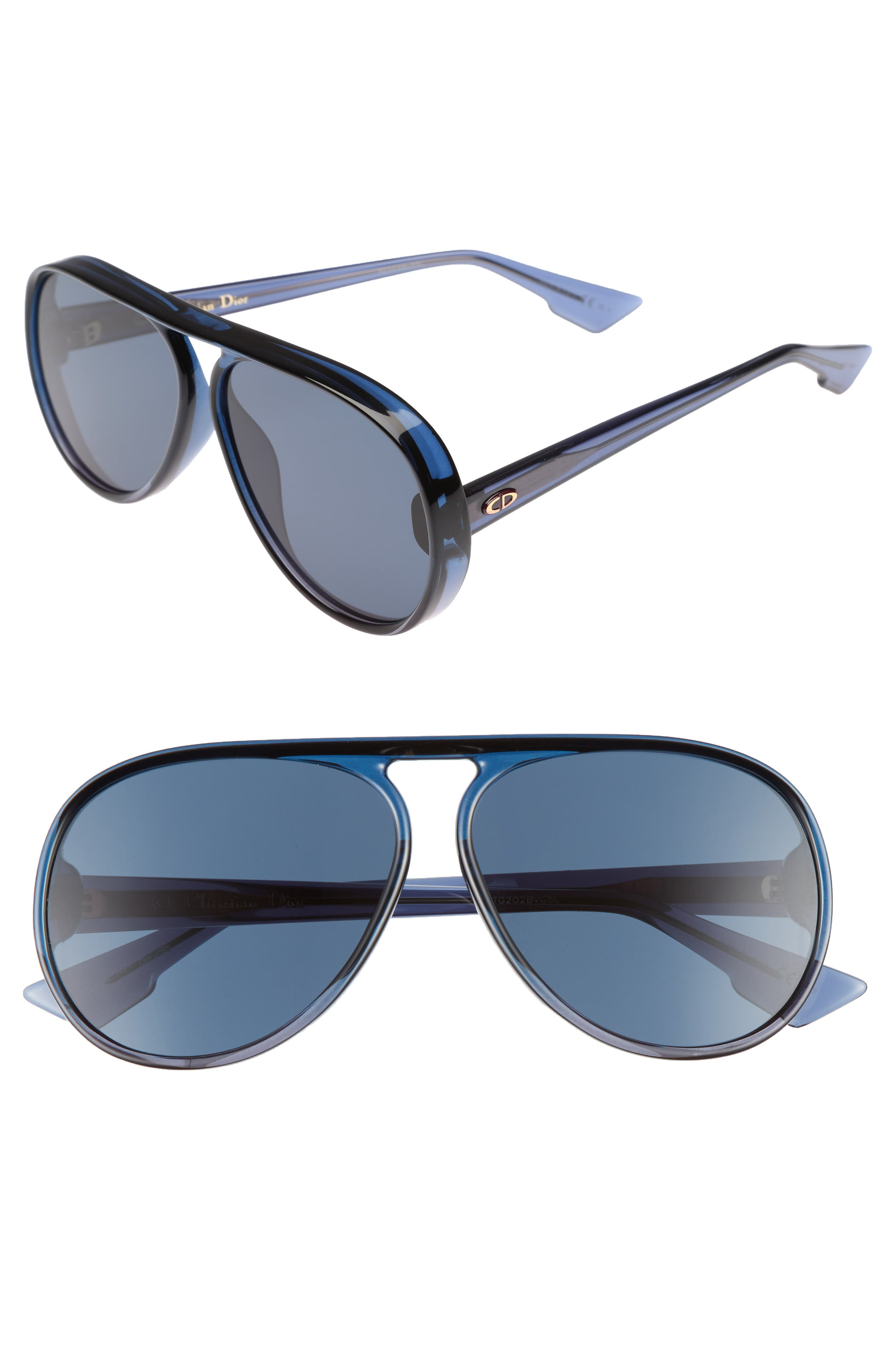 Lia 62mm Oversize Aviator Sunglasses,                         Main,                         color, Blue