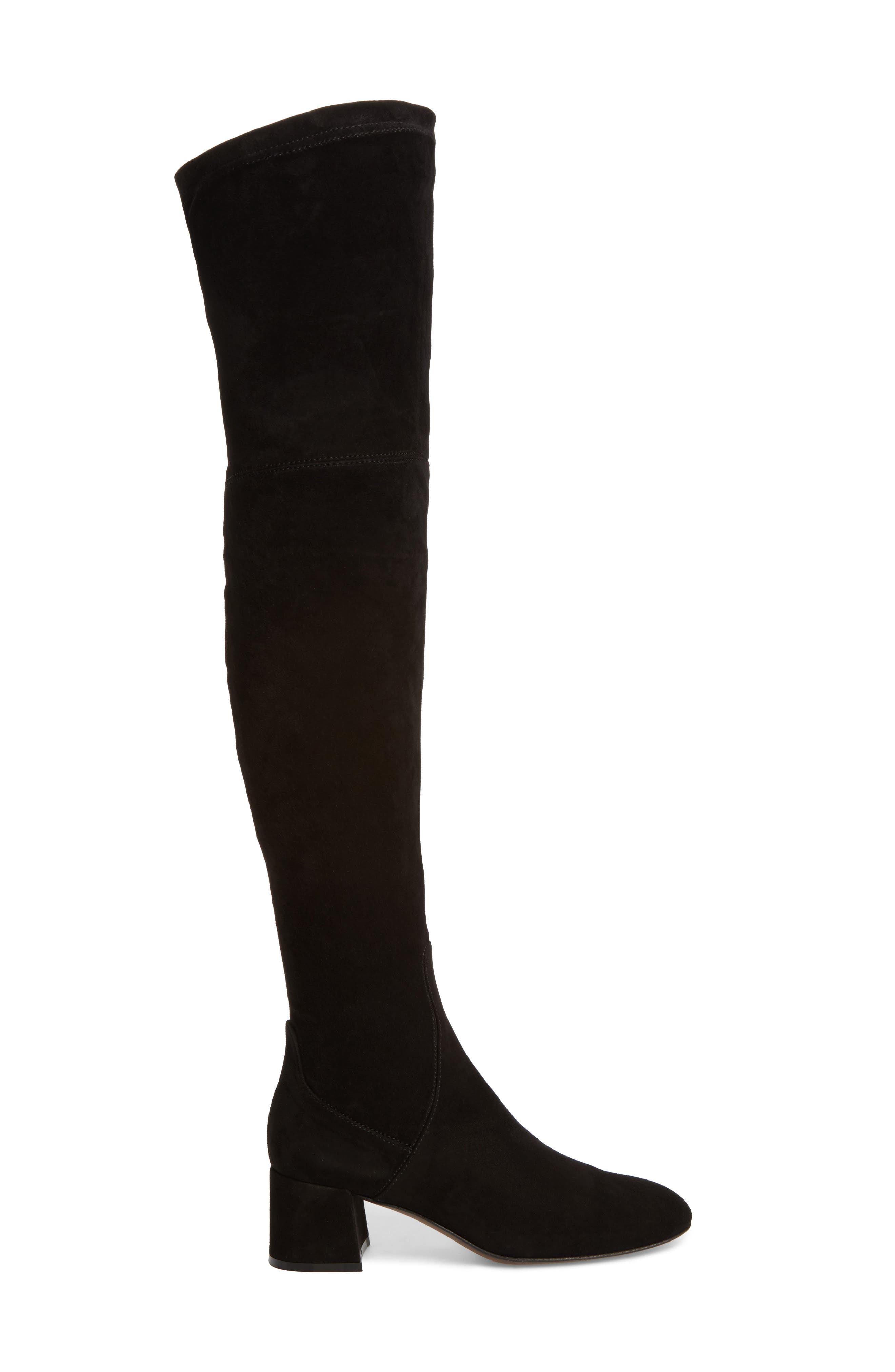 Over the Knee Boot,                             Alternate thumbnail 3, color,                             Black Suede