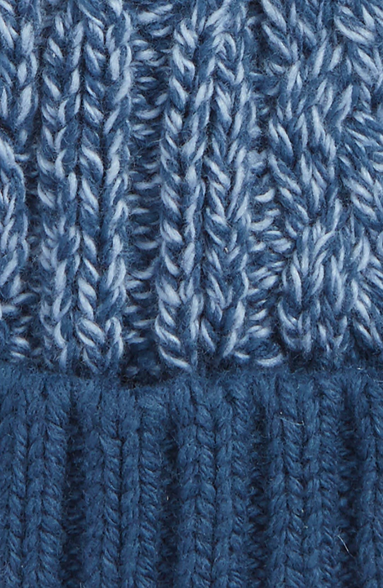Cable Knit Pompom Hat,                             Alternate thumbnail 2, color,                             Navy Denim- Blue