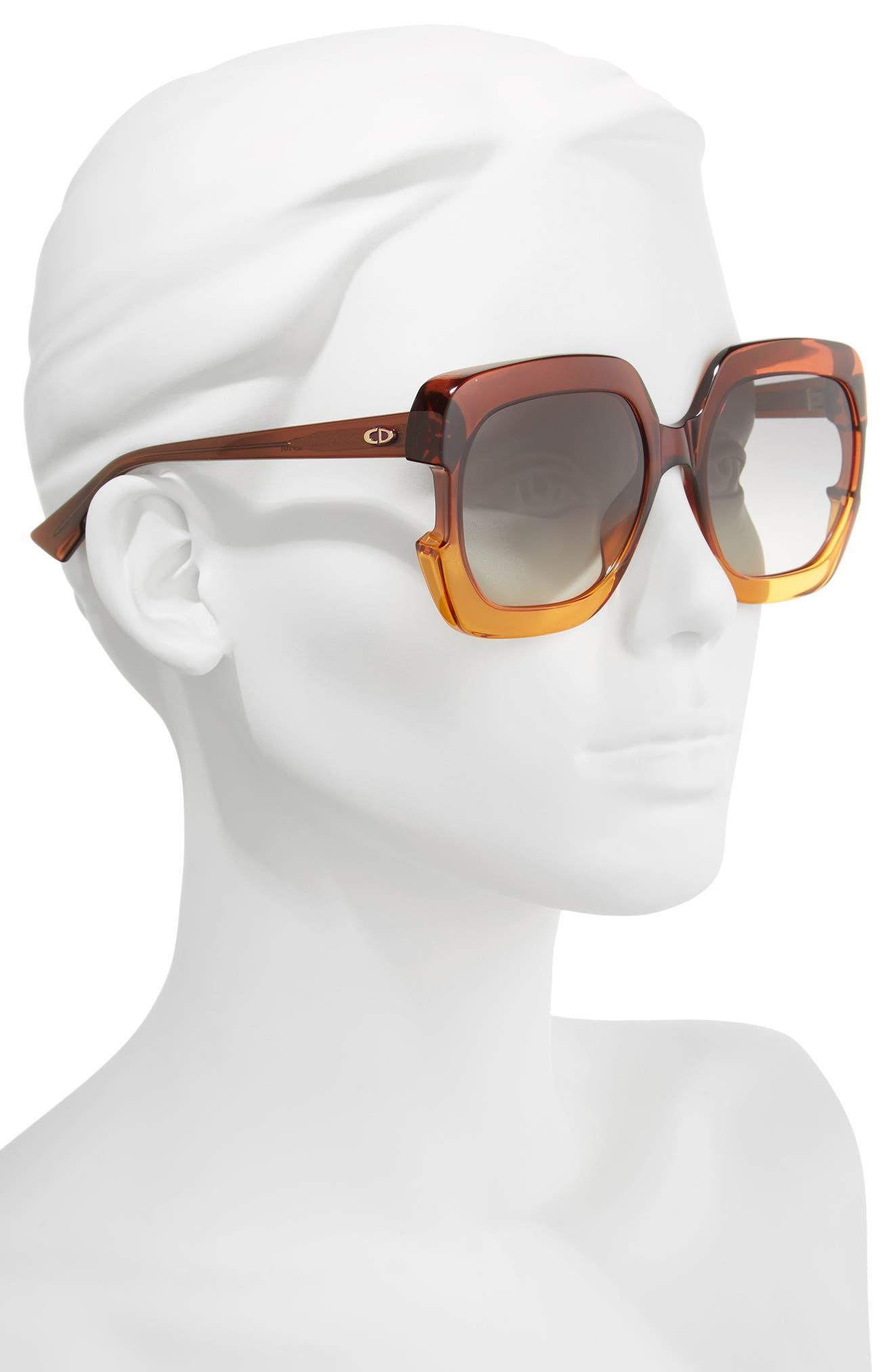 Gaia 58mm Square Sunglasses,                             Alternate thumbnail 2, color,                             Brown/ Orange