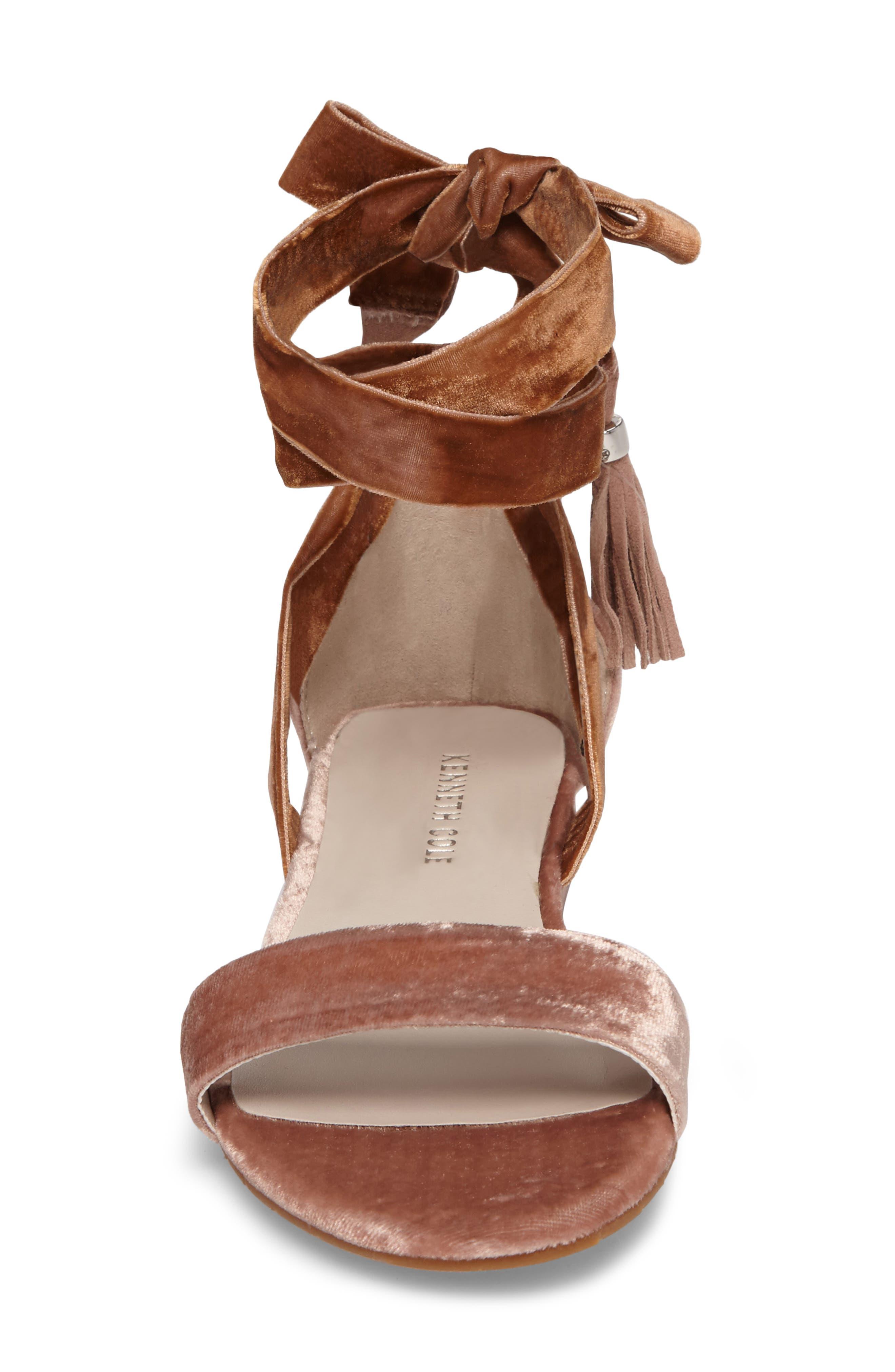 Valen Tassel Lace-Up Sandal,                             Alternate thumbnail 4, color,                             Blush Velvet