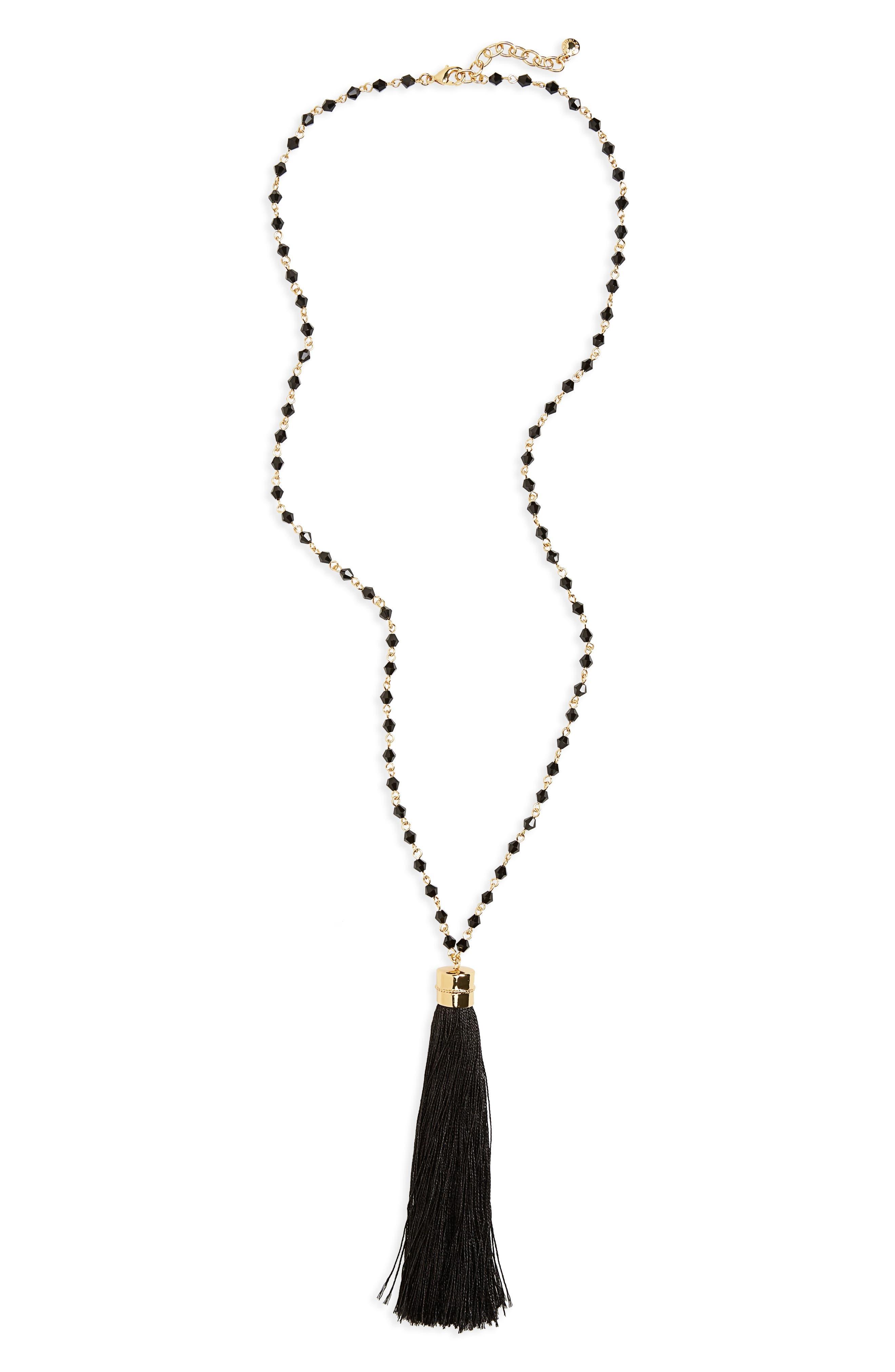 Tassel Necklace,                         Main,                         color, Black