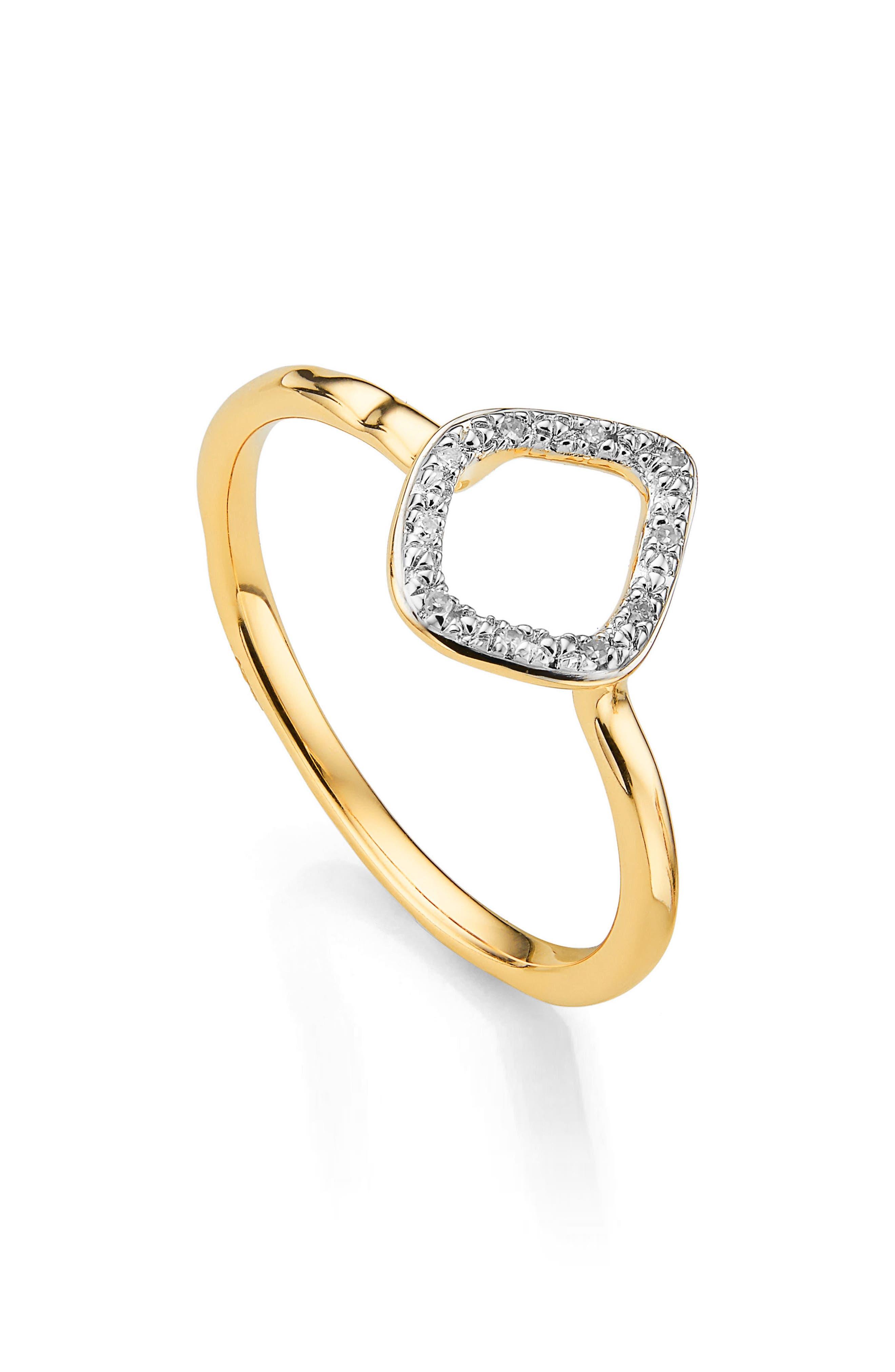 Monica Vinader Riva Mini Kite Diamond Stacking Ring