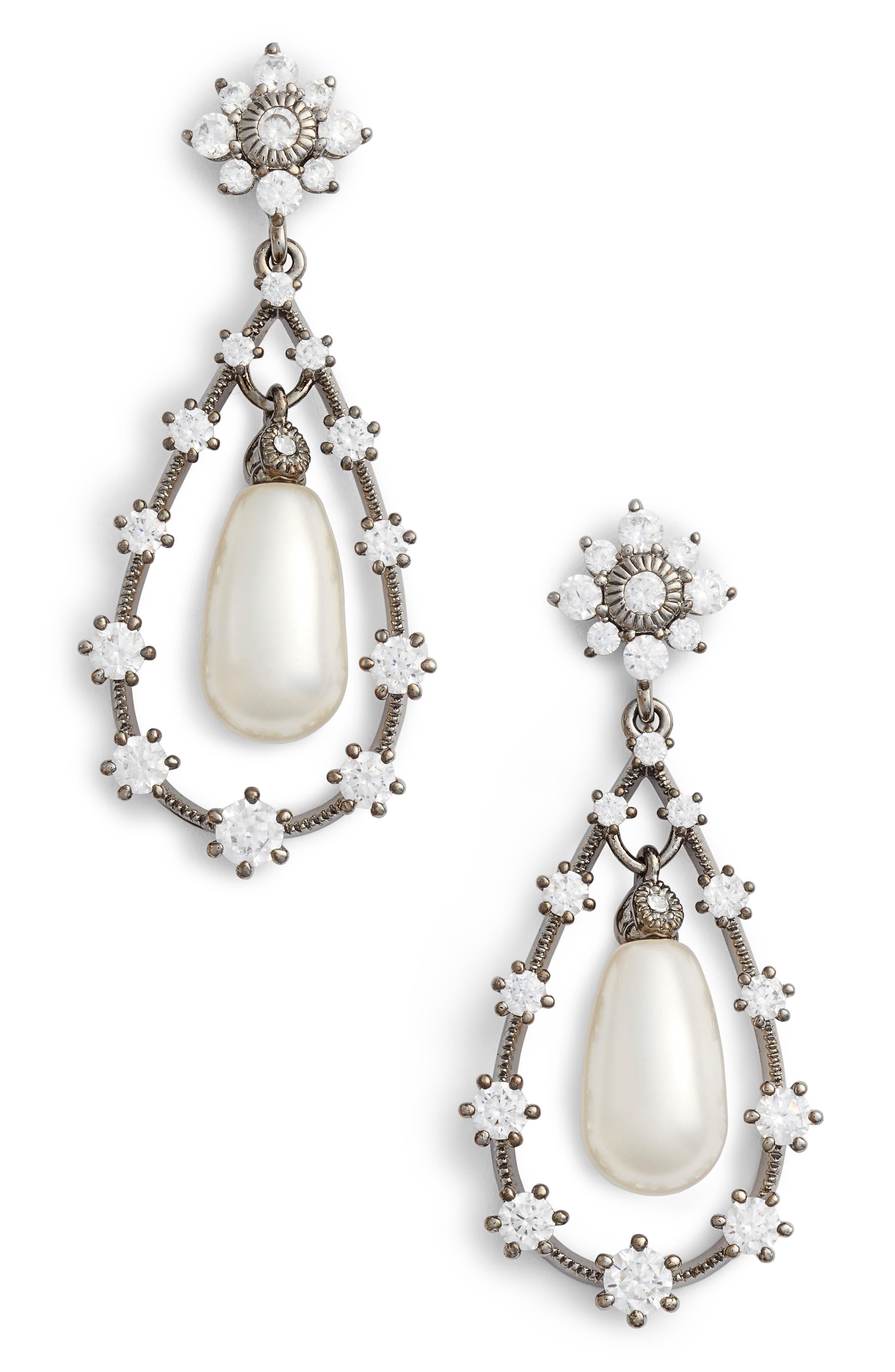 Simulated Pearl Drop Earirngs,                         Main,                         color, Black