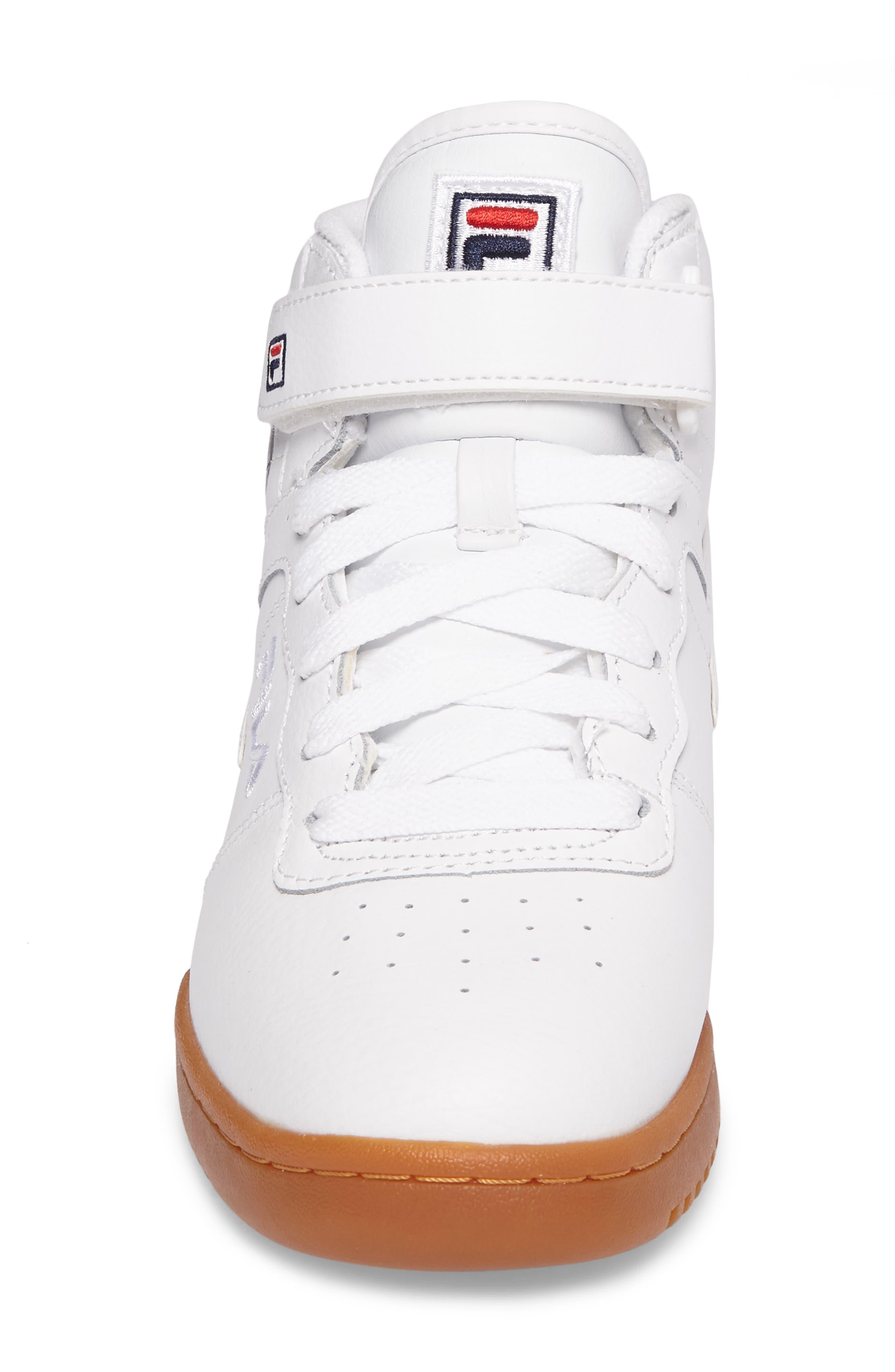 Original Fitness Logo Mid Top Sneaker,                             Alternate thumbnail 4, color,                             White/ Navy/ Red