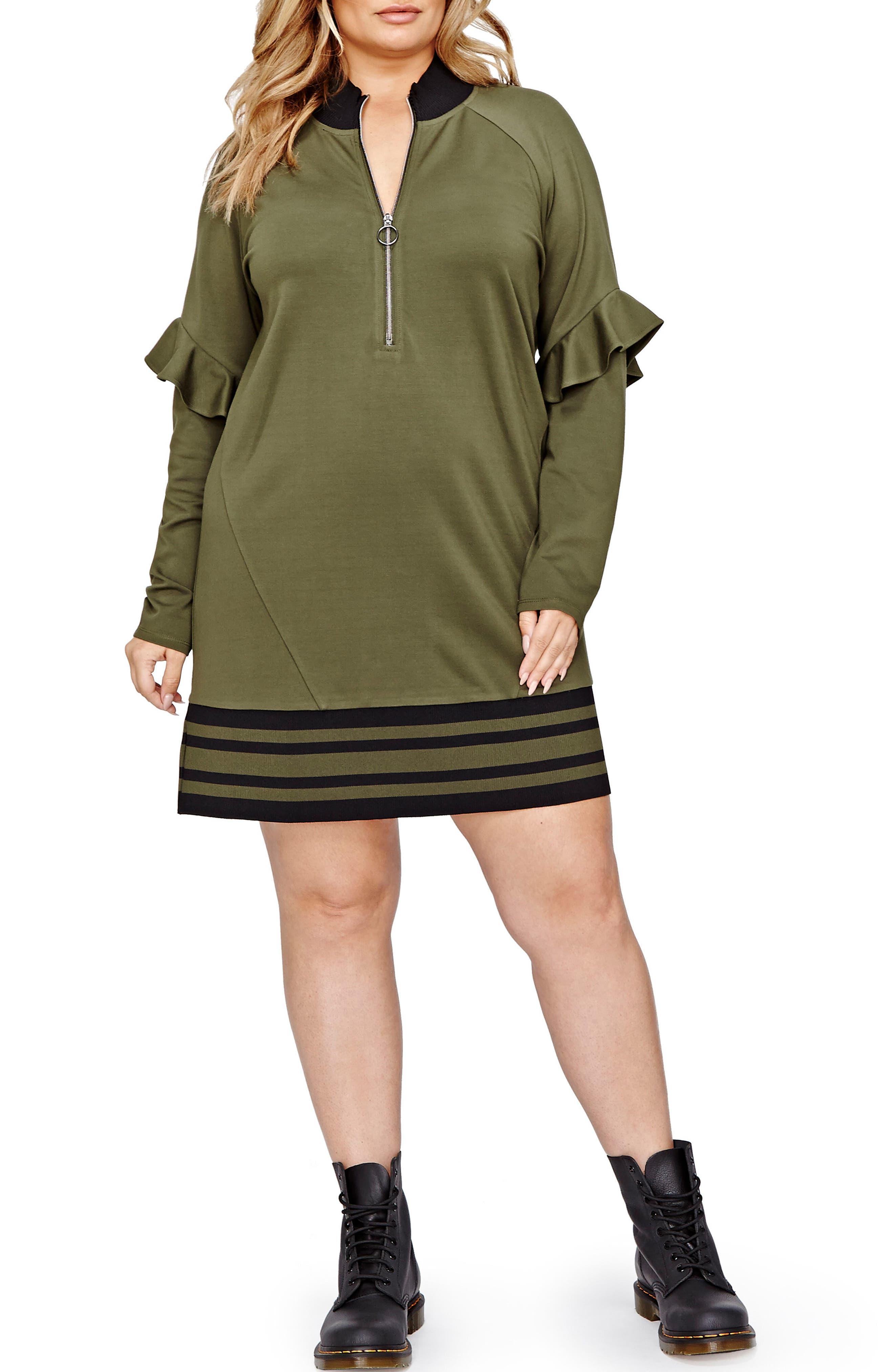 ADDITION ELLE LOVE AND LEGEND Jordyn Woods Zip Neck Tunic (Plus Size)