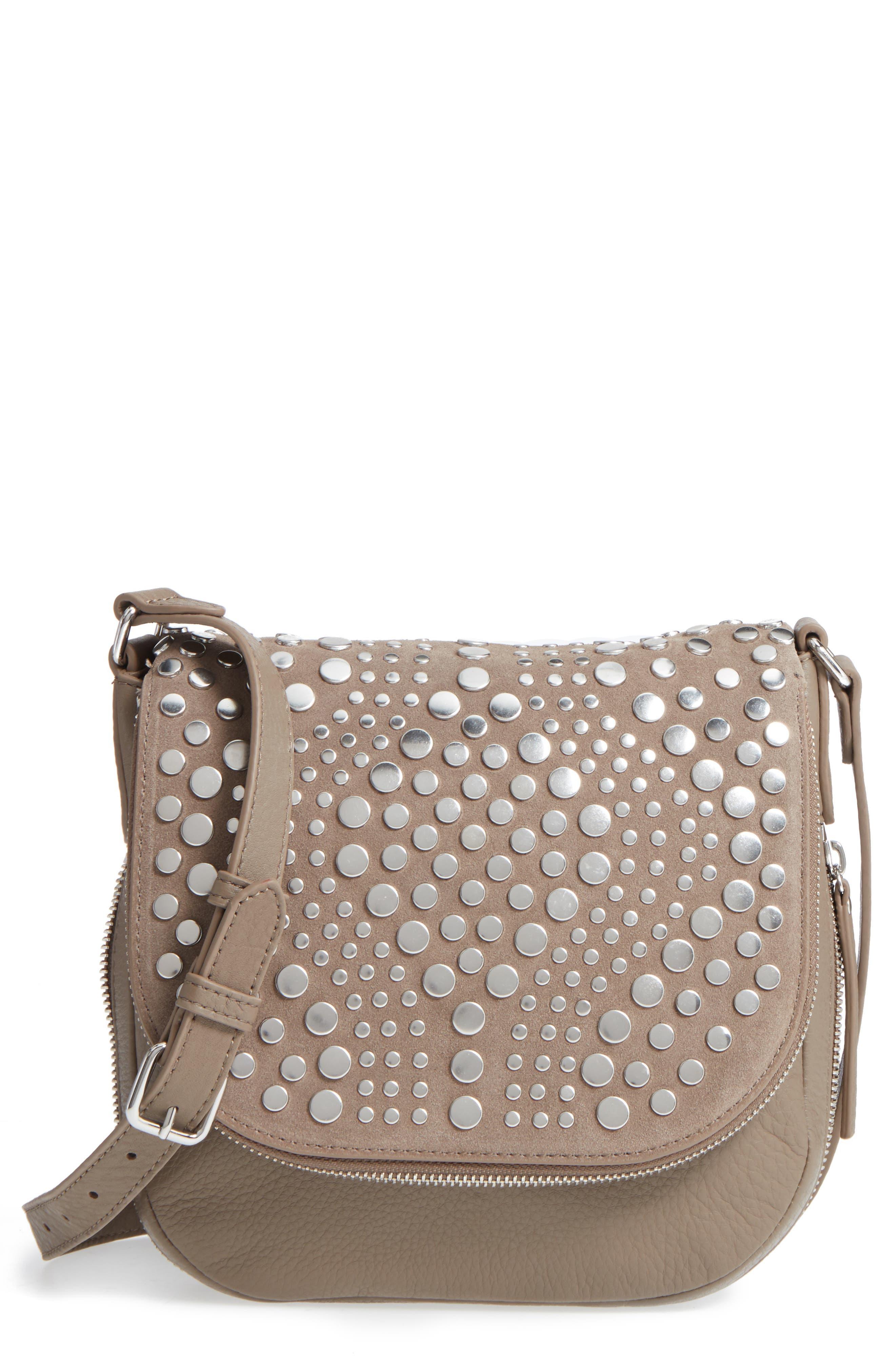 Vince Camuto Bonny Studded Leather Crossbody Bag