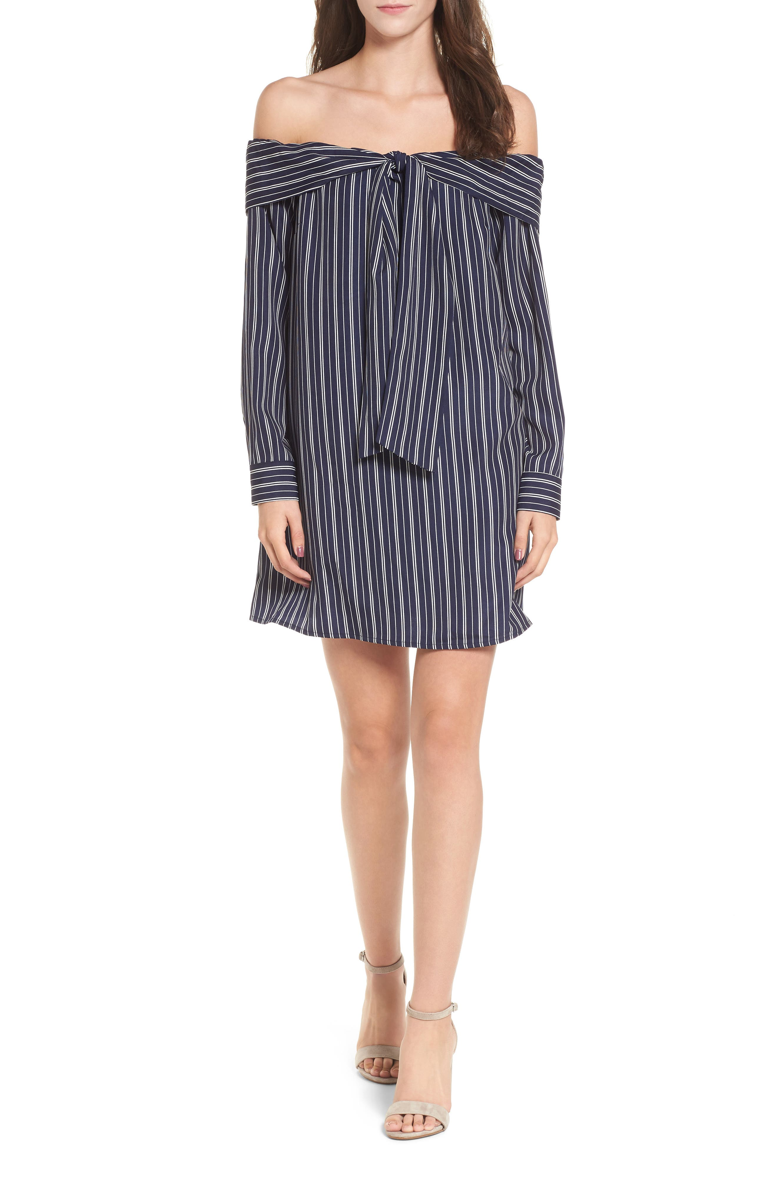 Off the Shoulder Shirtdress,                         Main,                         color, Navy Stripe