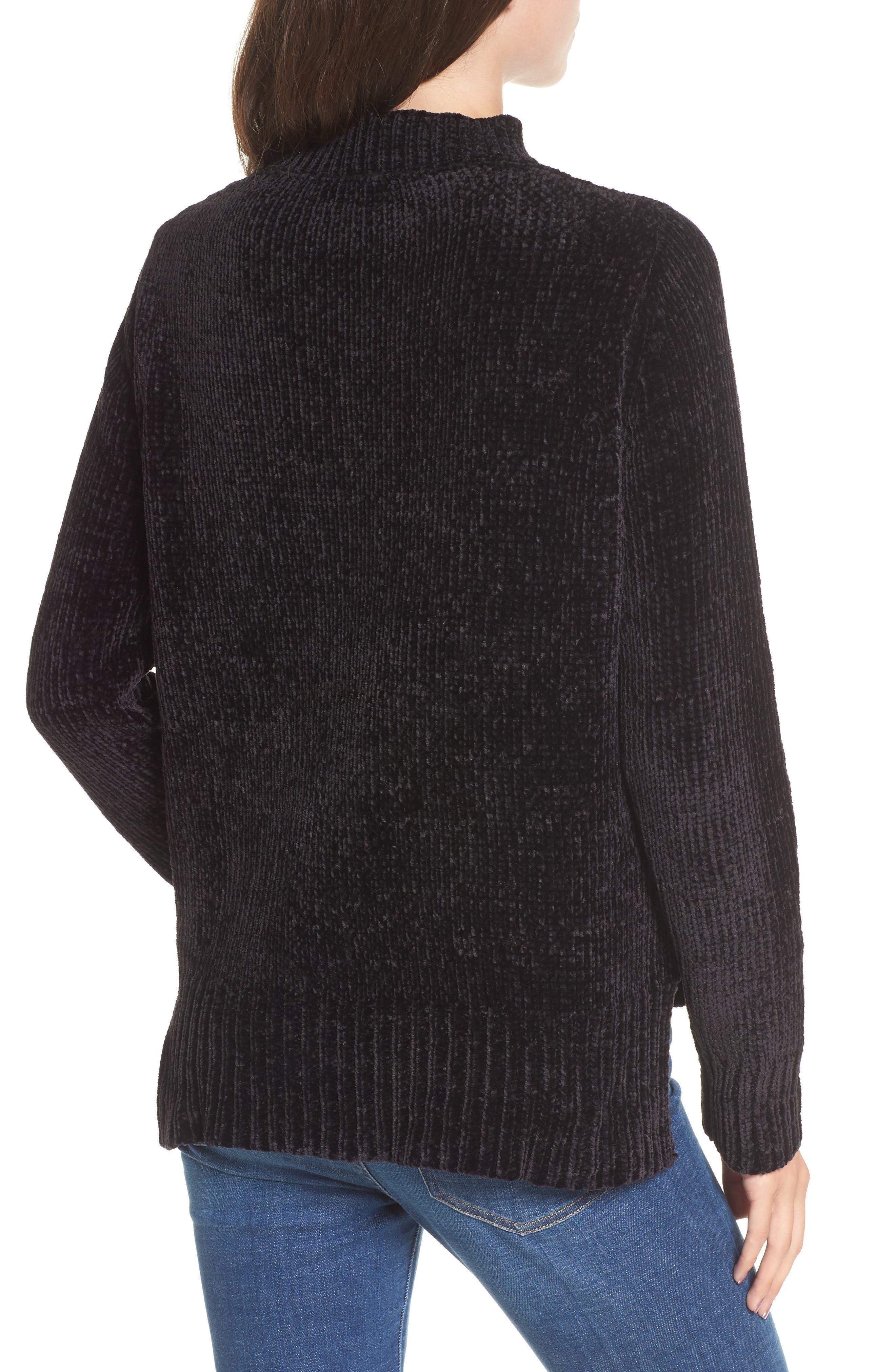 Chenille Choker Neck Sweater,                             Alternate thumbnail 2, color,                             Black