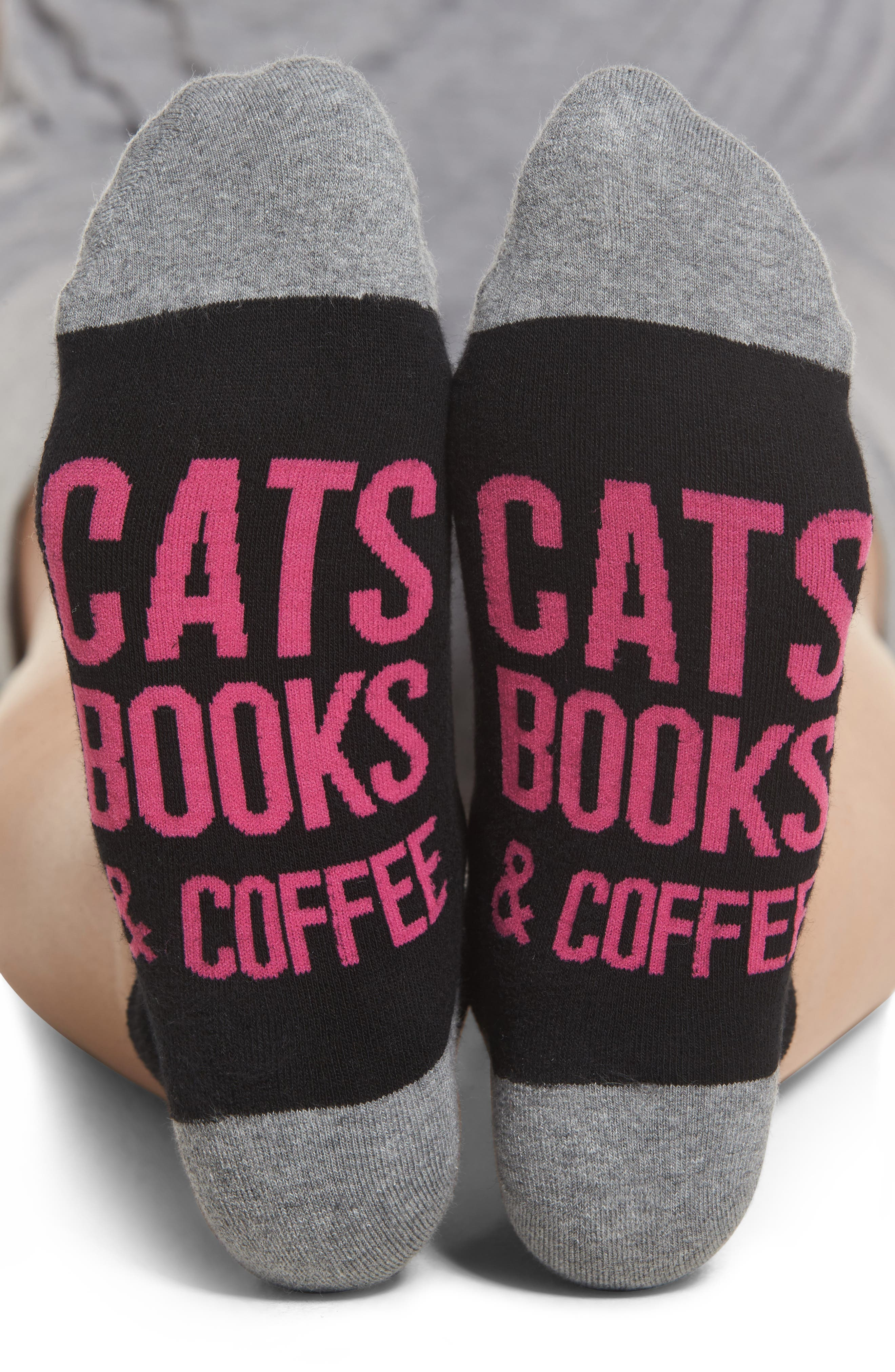 Cats, Books & Coffee Ankle Socks,                         Main,                         color, Black