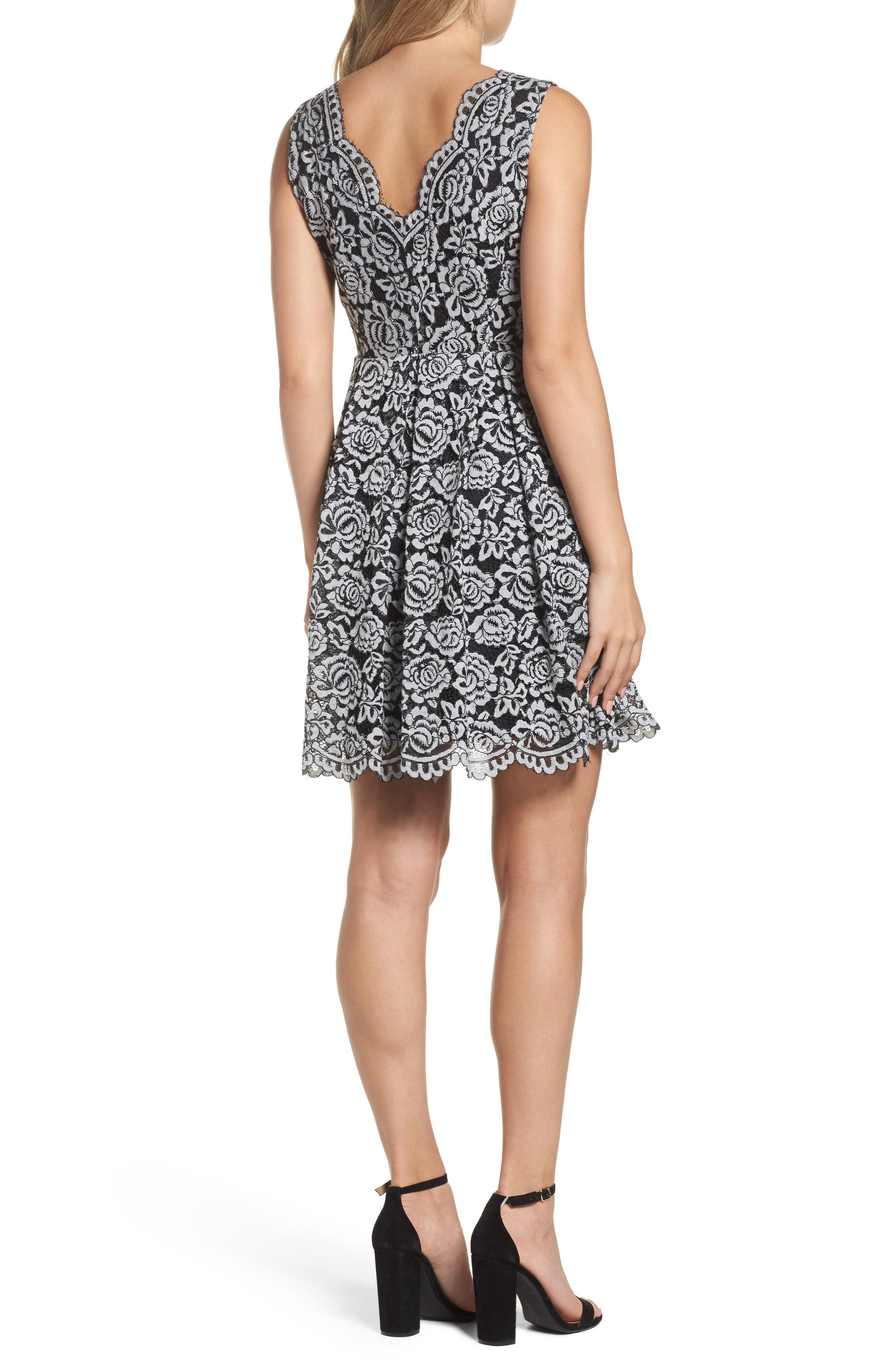 Lace Fit & Flare Dress,                             Alternate thumbnail 2, color,                             Black/ White
