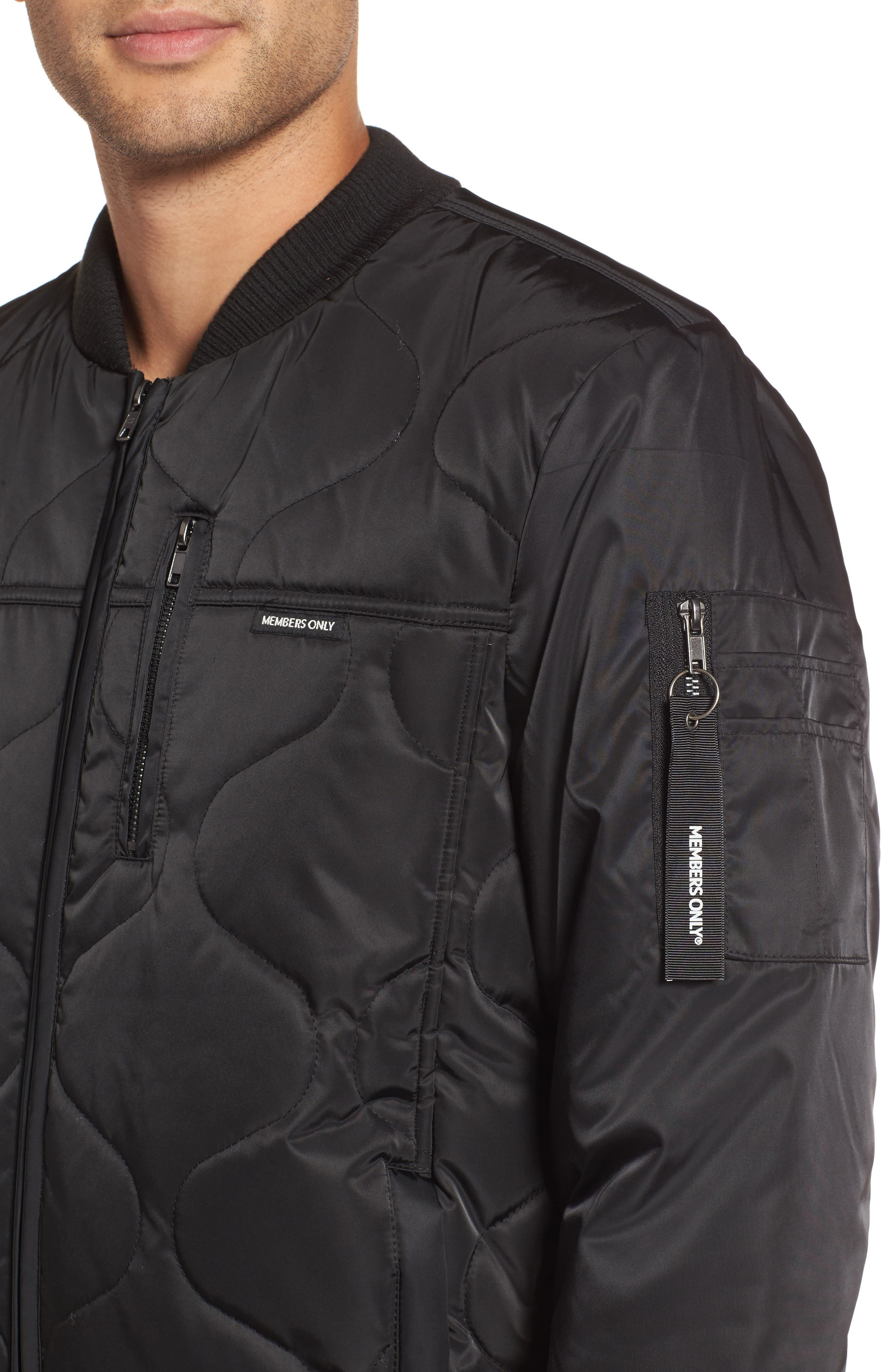 Quilted Bomber Jacket,                             Alternate thumbnail 4, color,                             Black