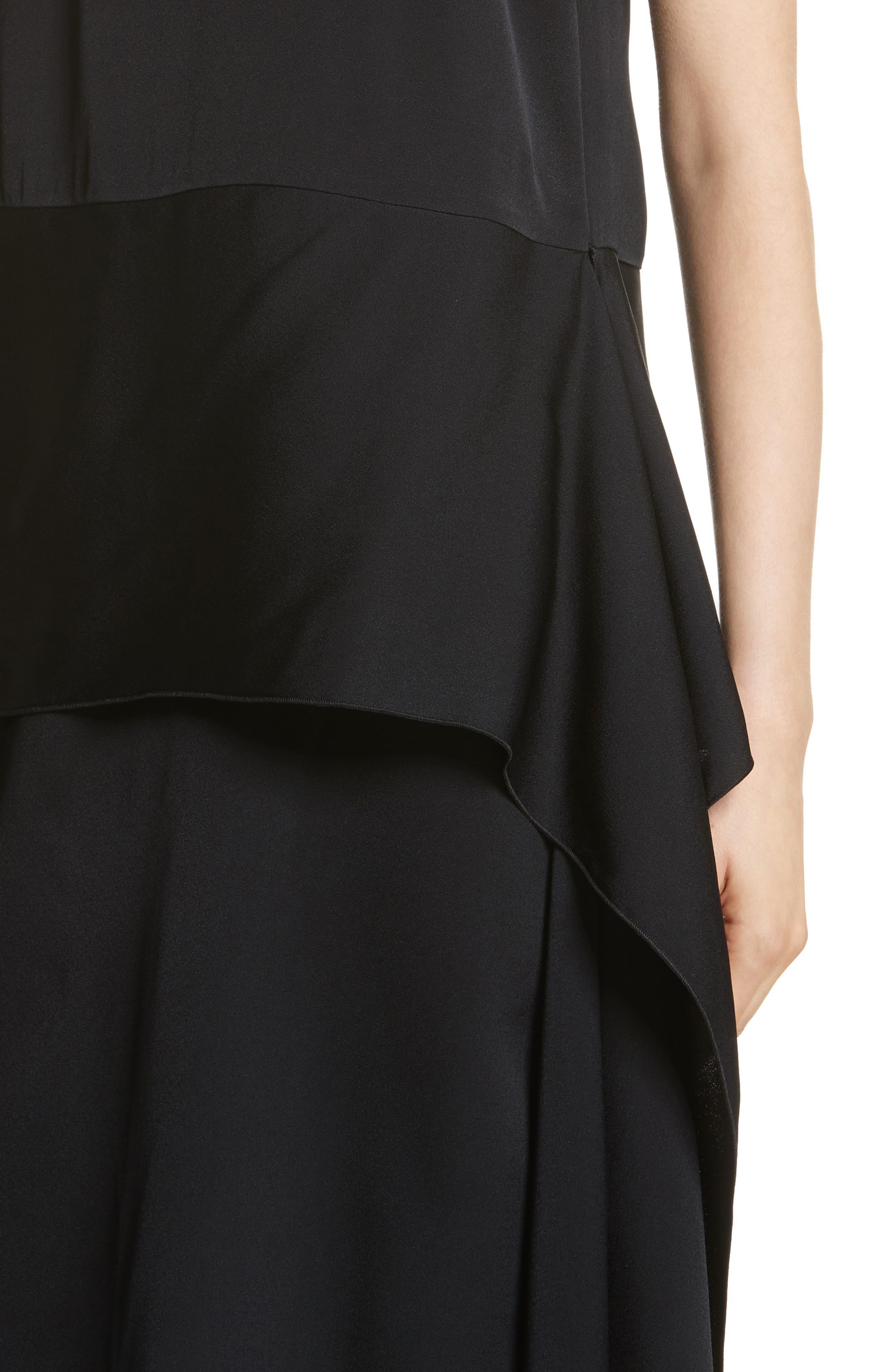 One-Shoulder Draped Cady Dress,                             Alternate thumbnail 4, color,                             Black