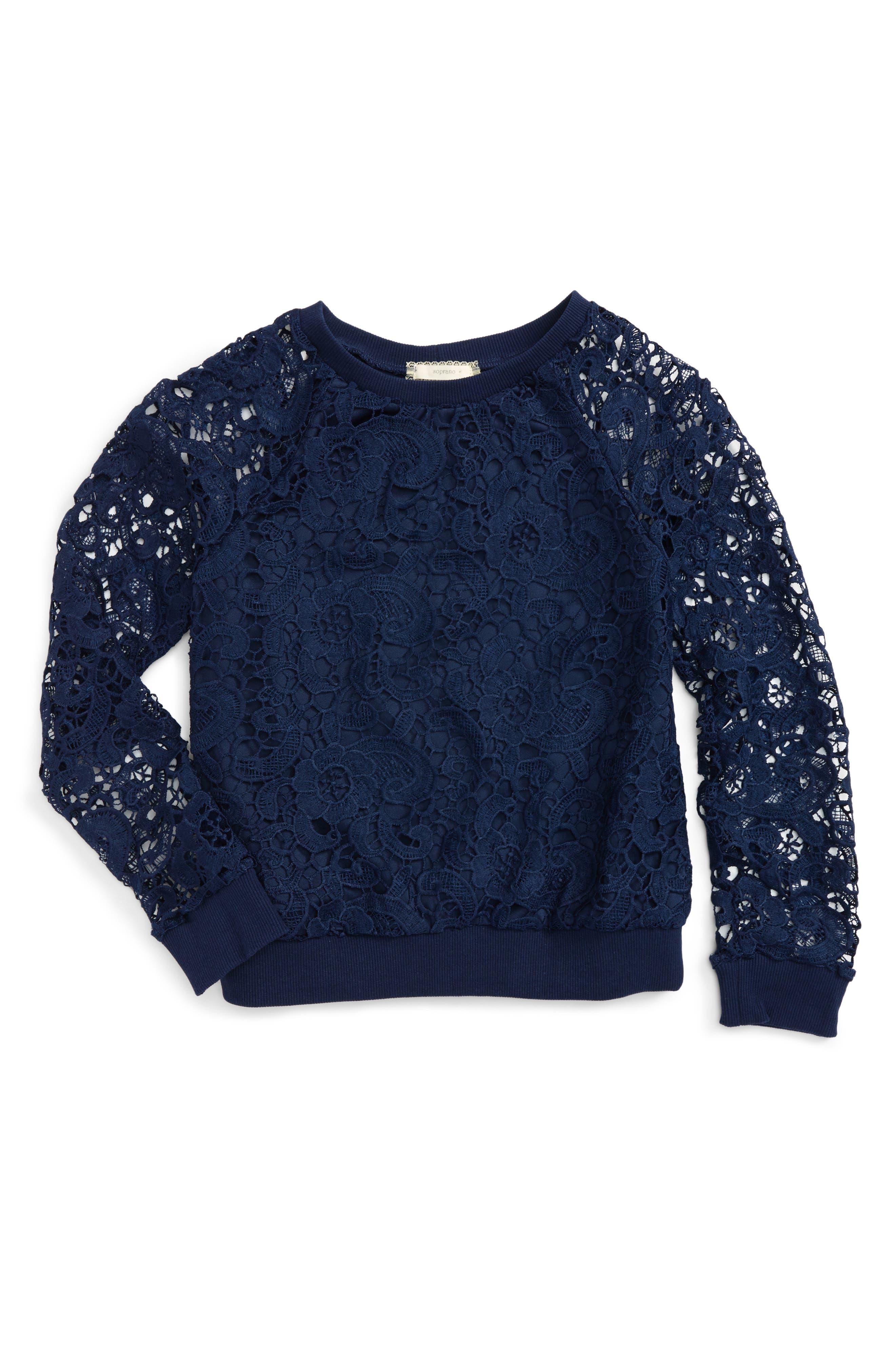 Lace Overlay Sweatshirt,                         Main,                         color, 380 Navy