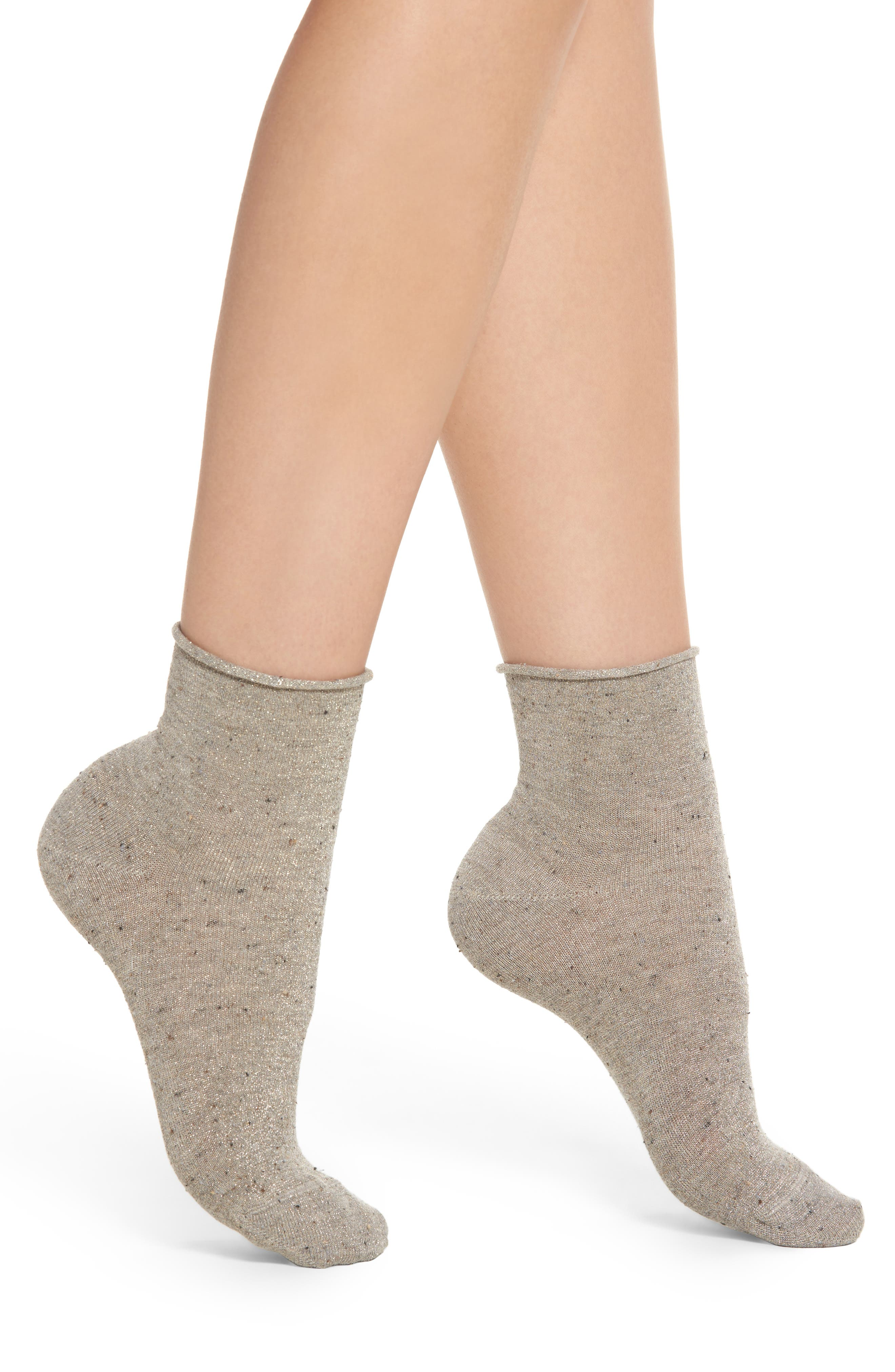 Metallic Tweed Ankle Socks,                             Main thumbnail 1, color,                             Clay