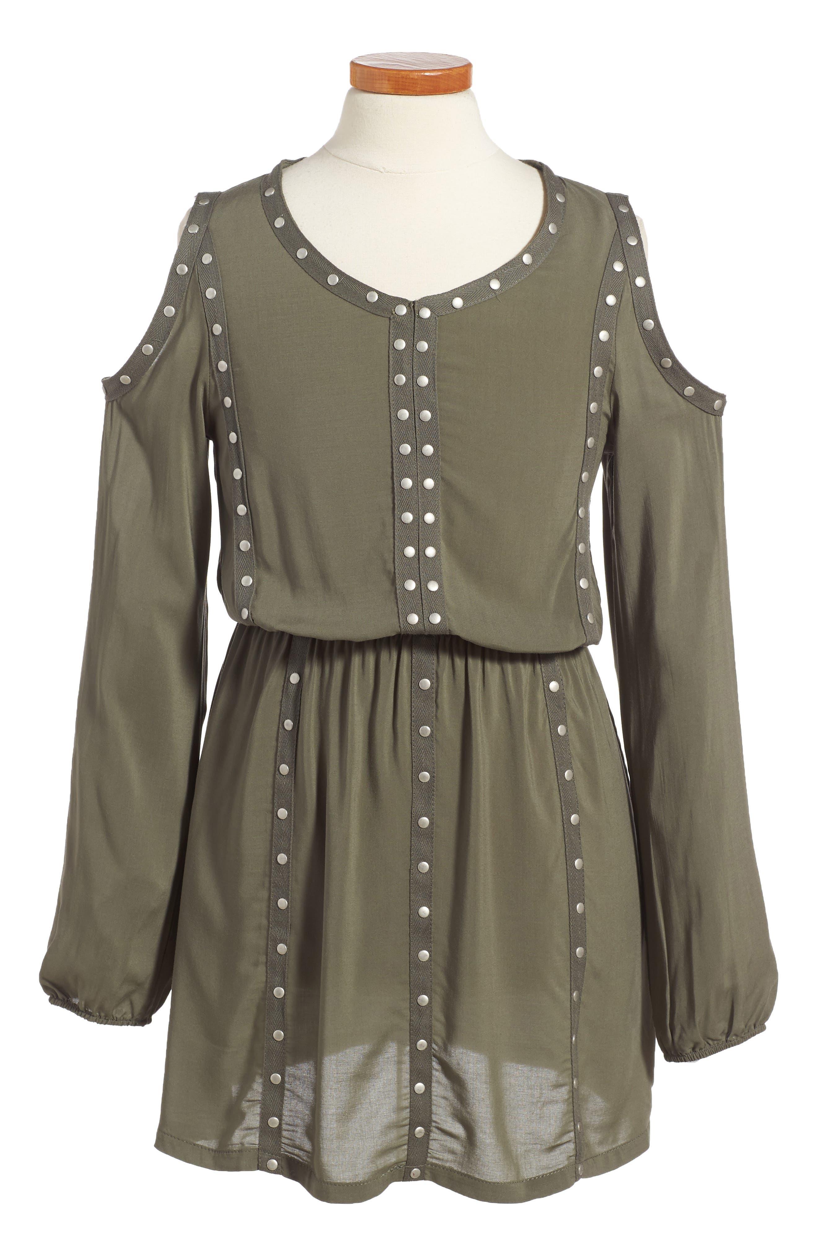 Grommet Cold Shoulder Dress,                             Main thumbnail 1, color,                             Olive Green