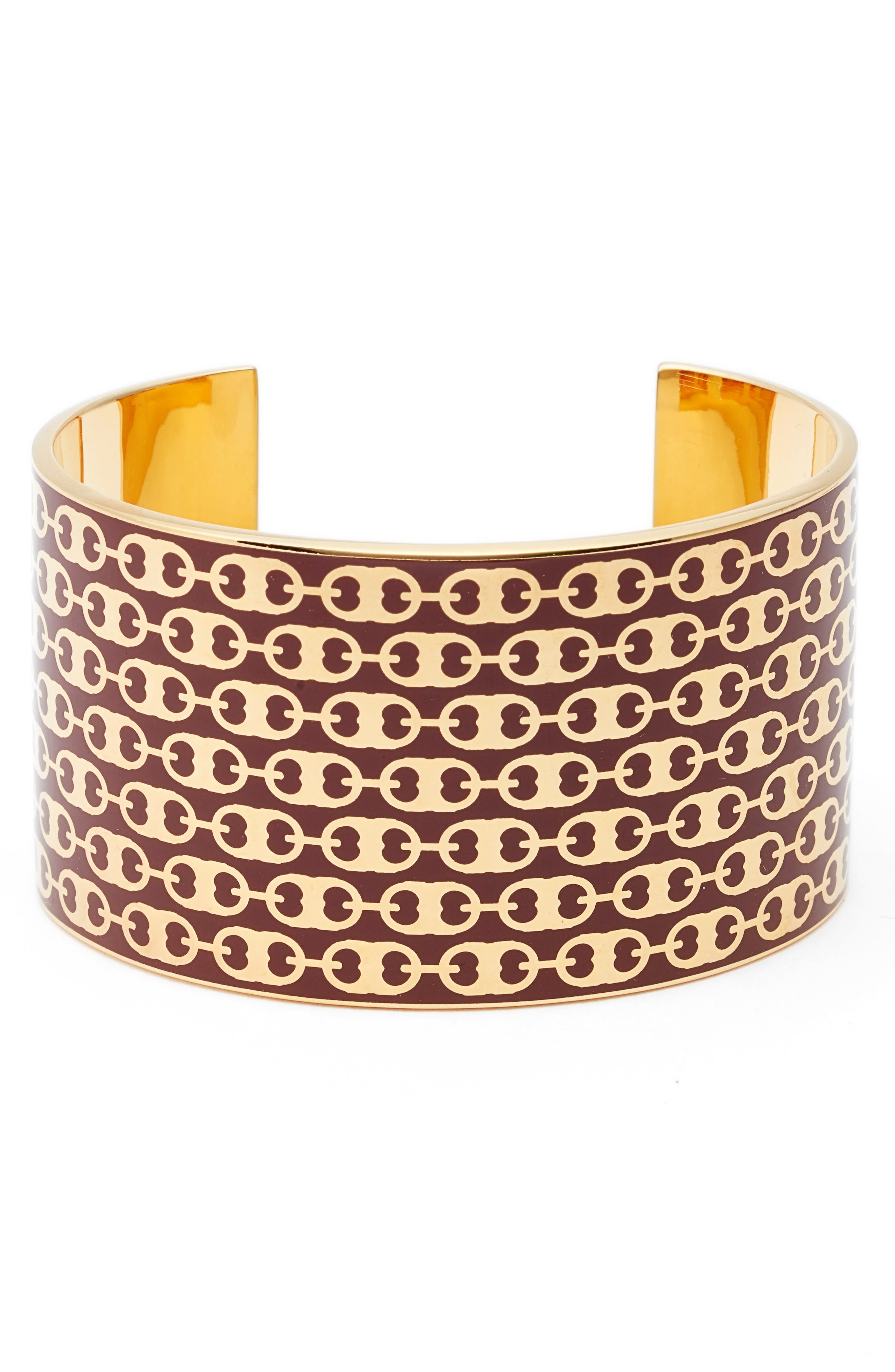 Gemini Link Wide Cuff,                             Main thumbnail 1, color,                             Tuscan Wine / Tory Gold