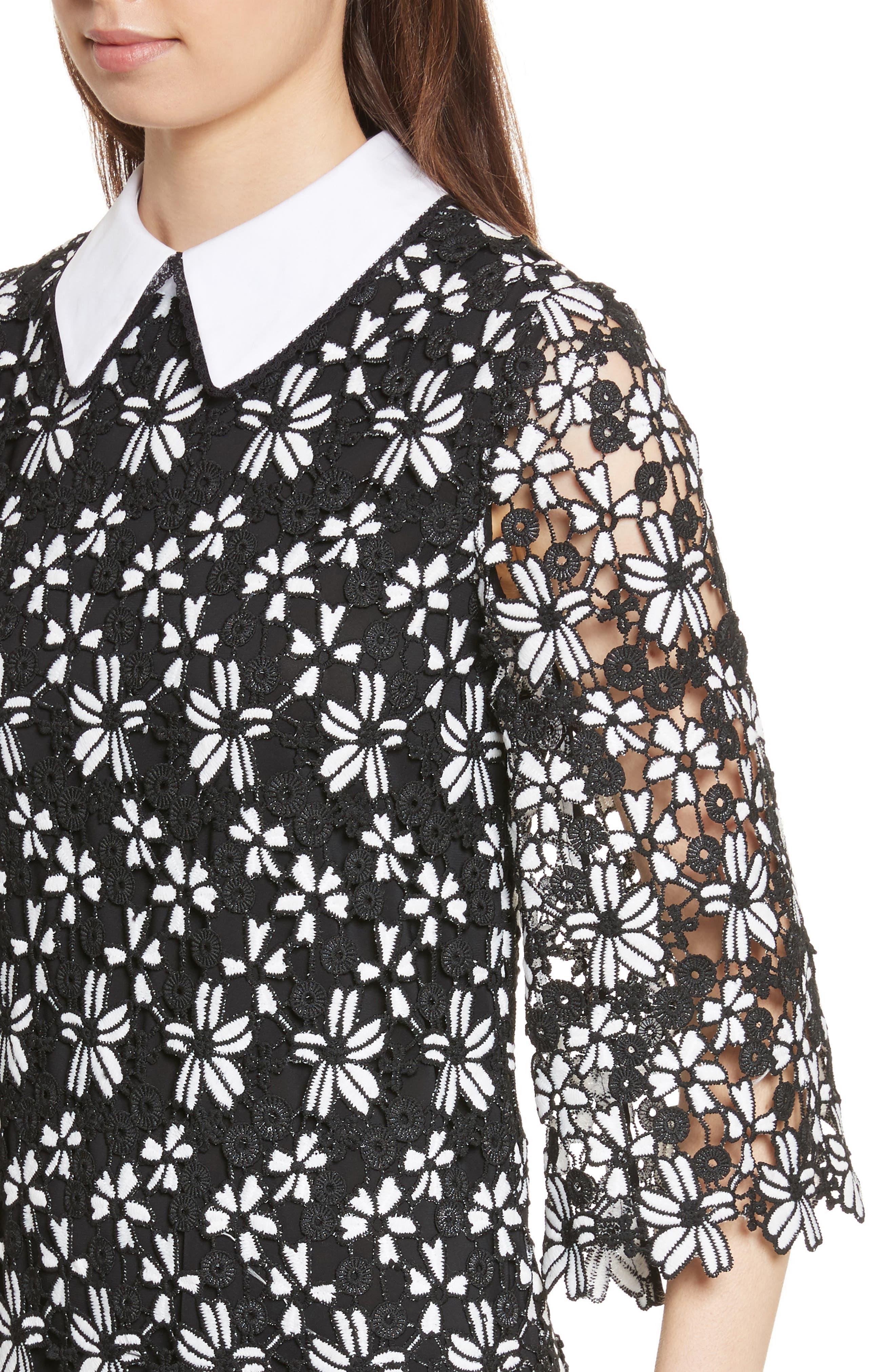 Alternate Image 4  - Alice + Olivia Debra Collared Lace Tunic Dress