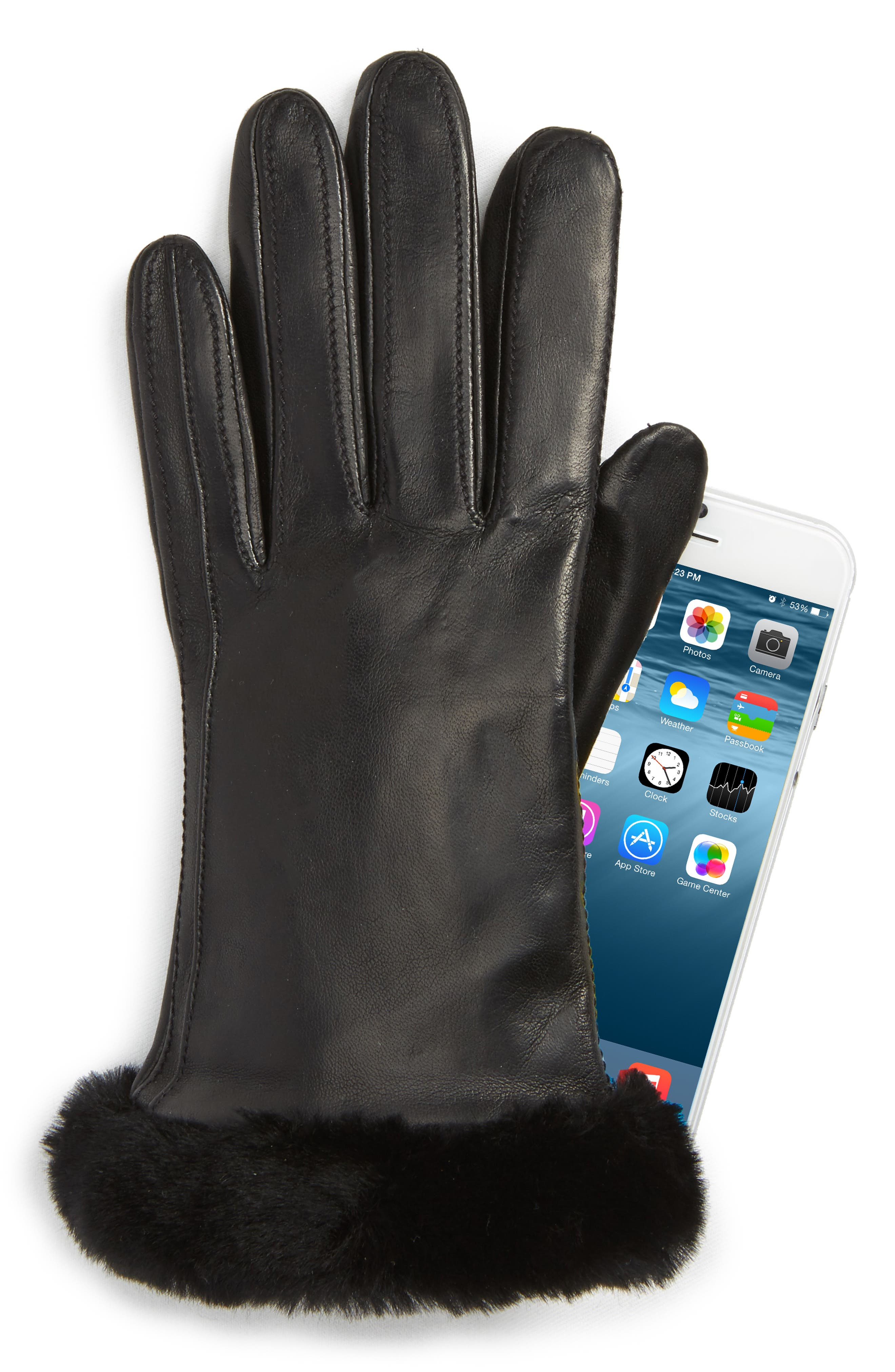 UGG<sup>®</sup> Classic Leather Tech Gloves with Genuine Shearling Trim,                             Alternate thumbnail 2, color,                             Black