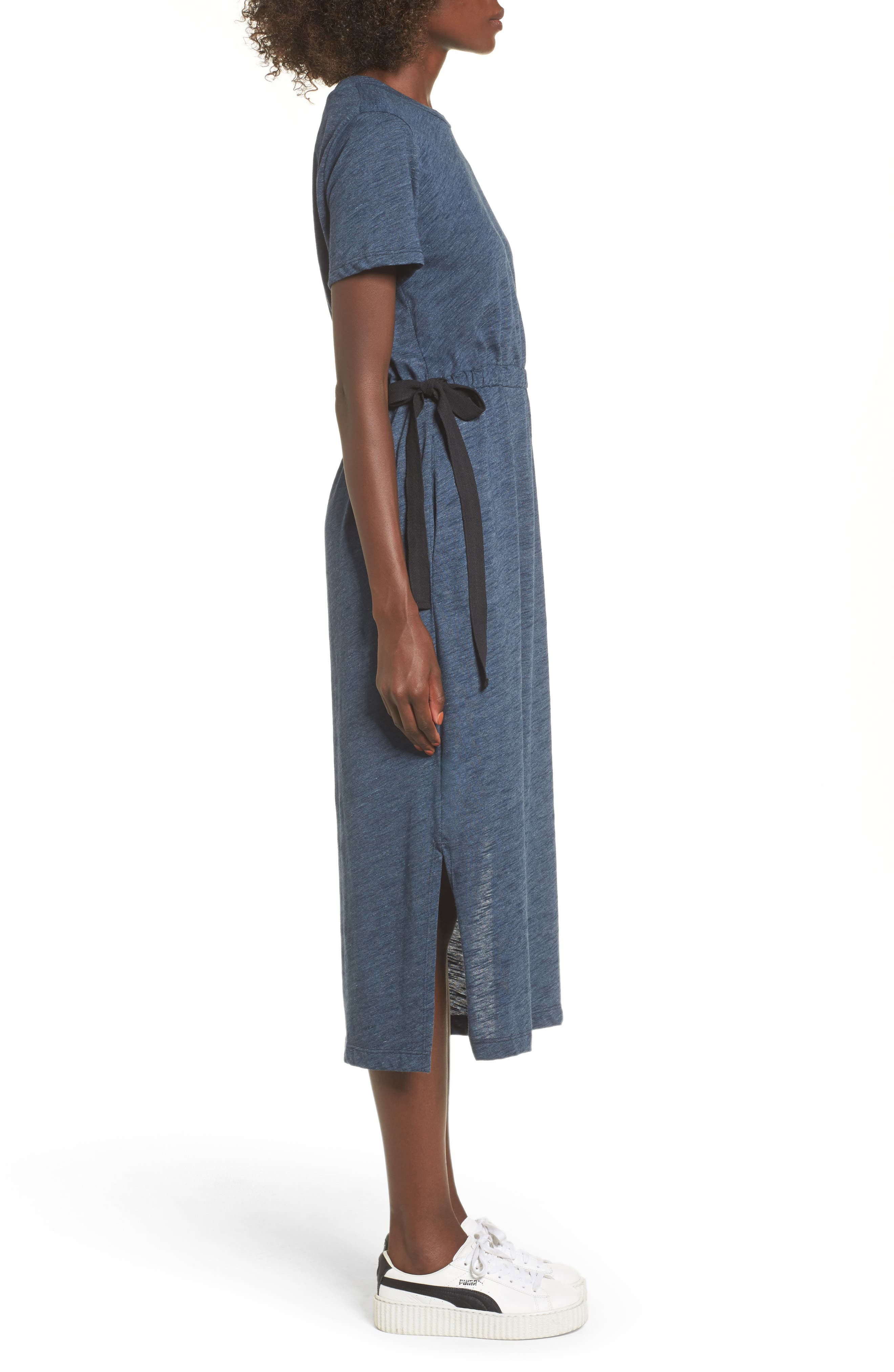 Side Tie Midi T-Shirt Dress,                             Alternate thumbnail 3, color,                             Navy Heather