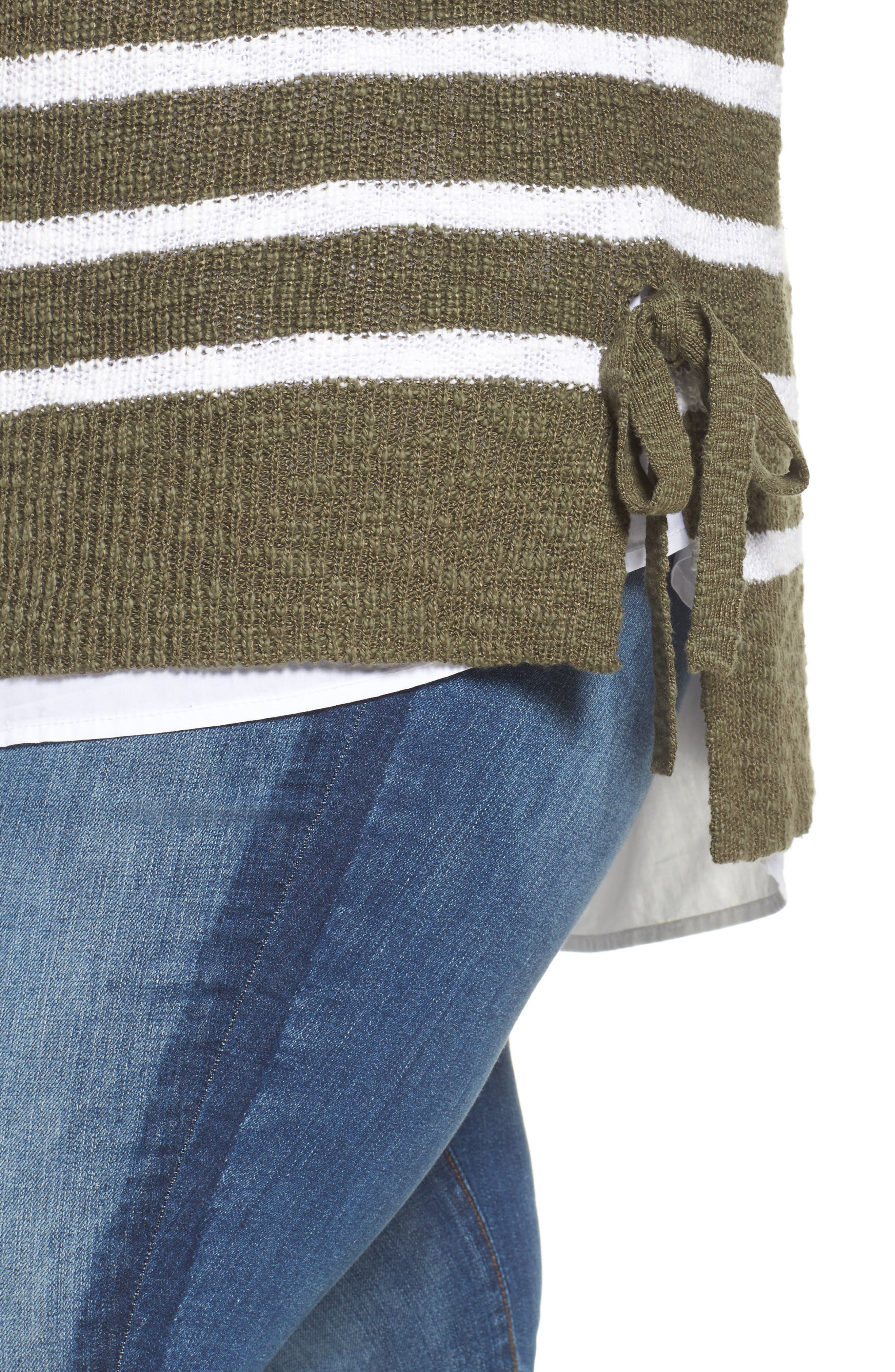 Tunic Sweater with Side Ties,                             Alternate thumbnail 3, color,                             Olive- White Stripe